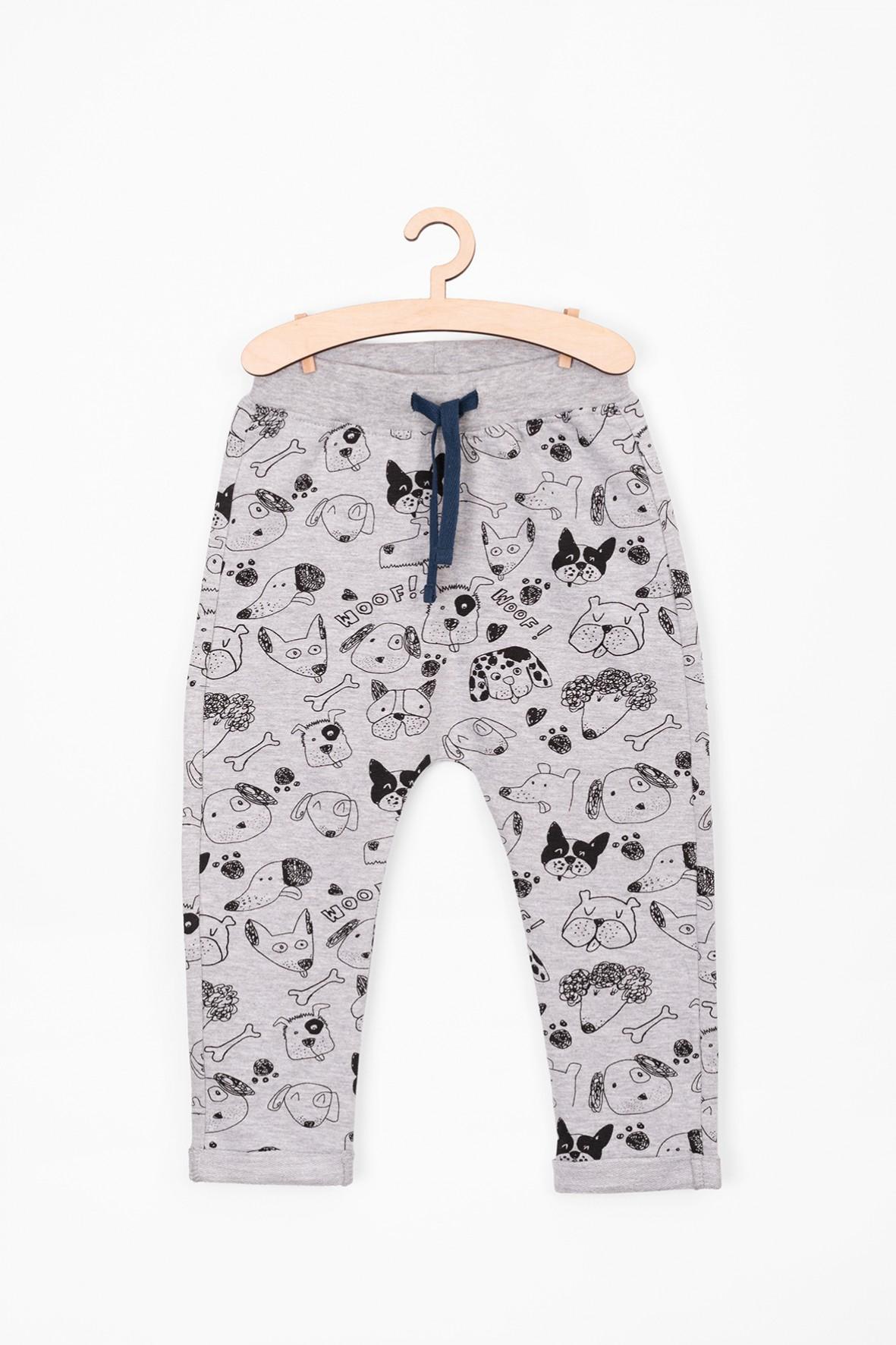 Spodnie dresowe dla niemowlaka- szare z psami