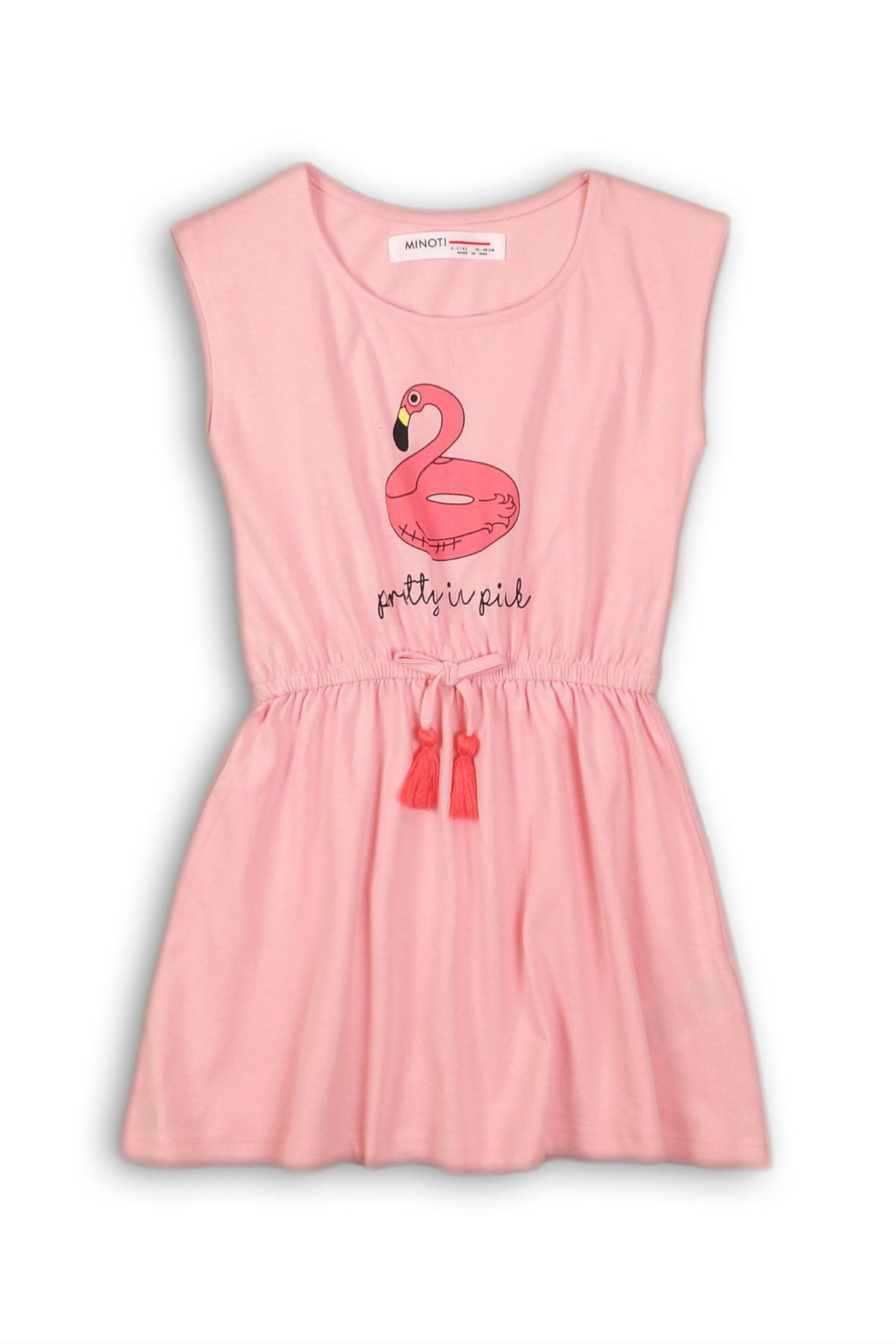 e99fbd6538 Różowa sukienka na ramiączka z flamingiem dla dziewczynki ...