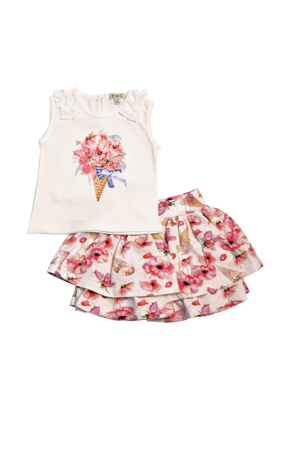 Komplet dziewczęcy koszulka + spódniczka
