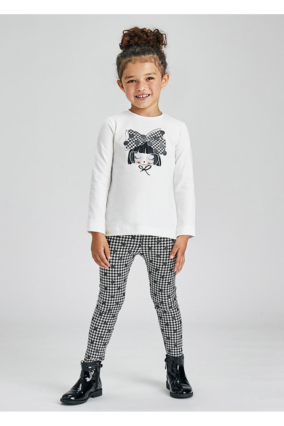 Komplet dziewczęcy - bluzka z długim rękawem i leginsy we wzory