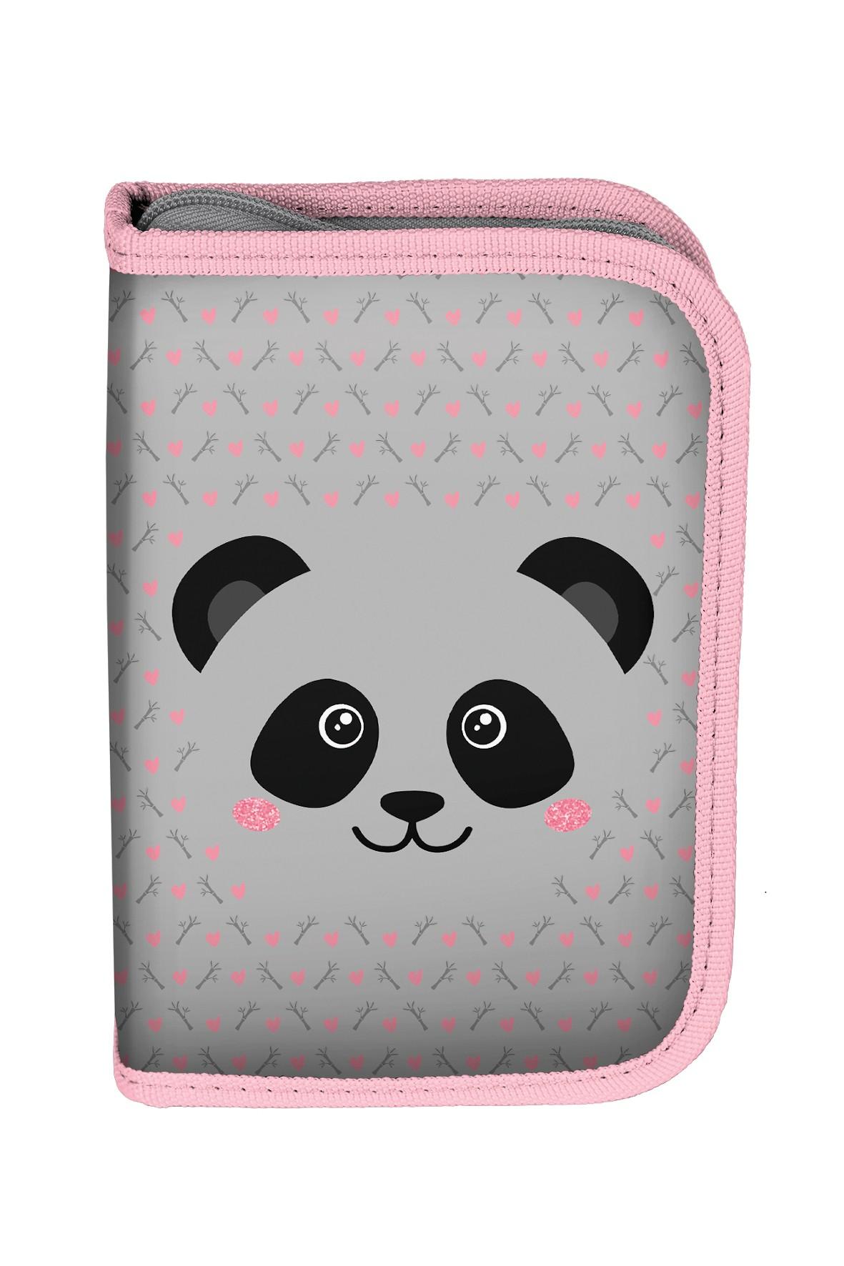 Piórnik z wyposażeniem szaro-różowy z pandą