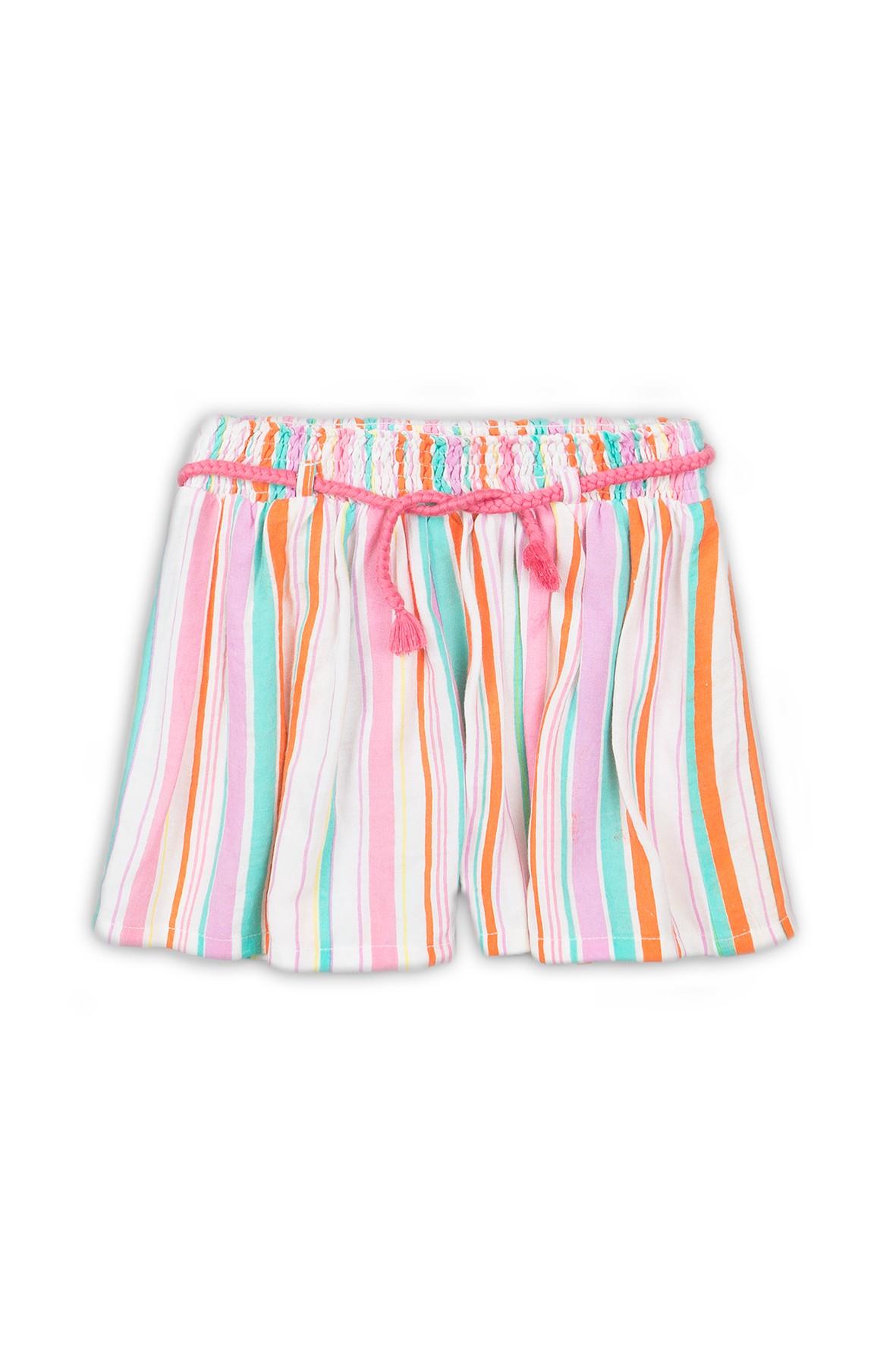 Szorty dziewczęce tkaninowe w kolorowe paski