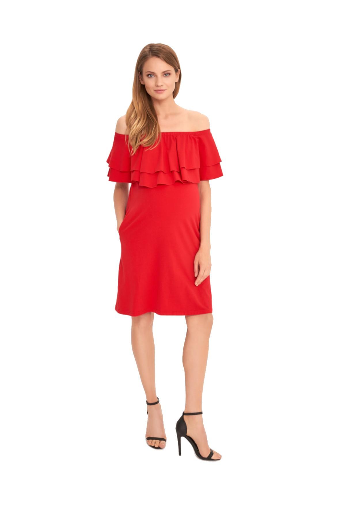 Sukienka dla przyszłej mamy w kolorze czerwonym