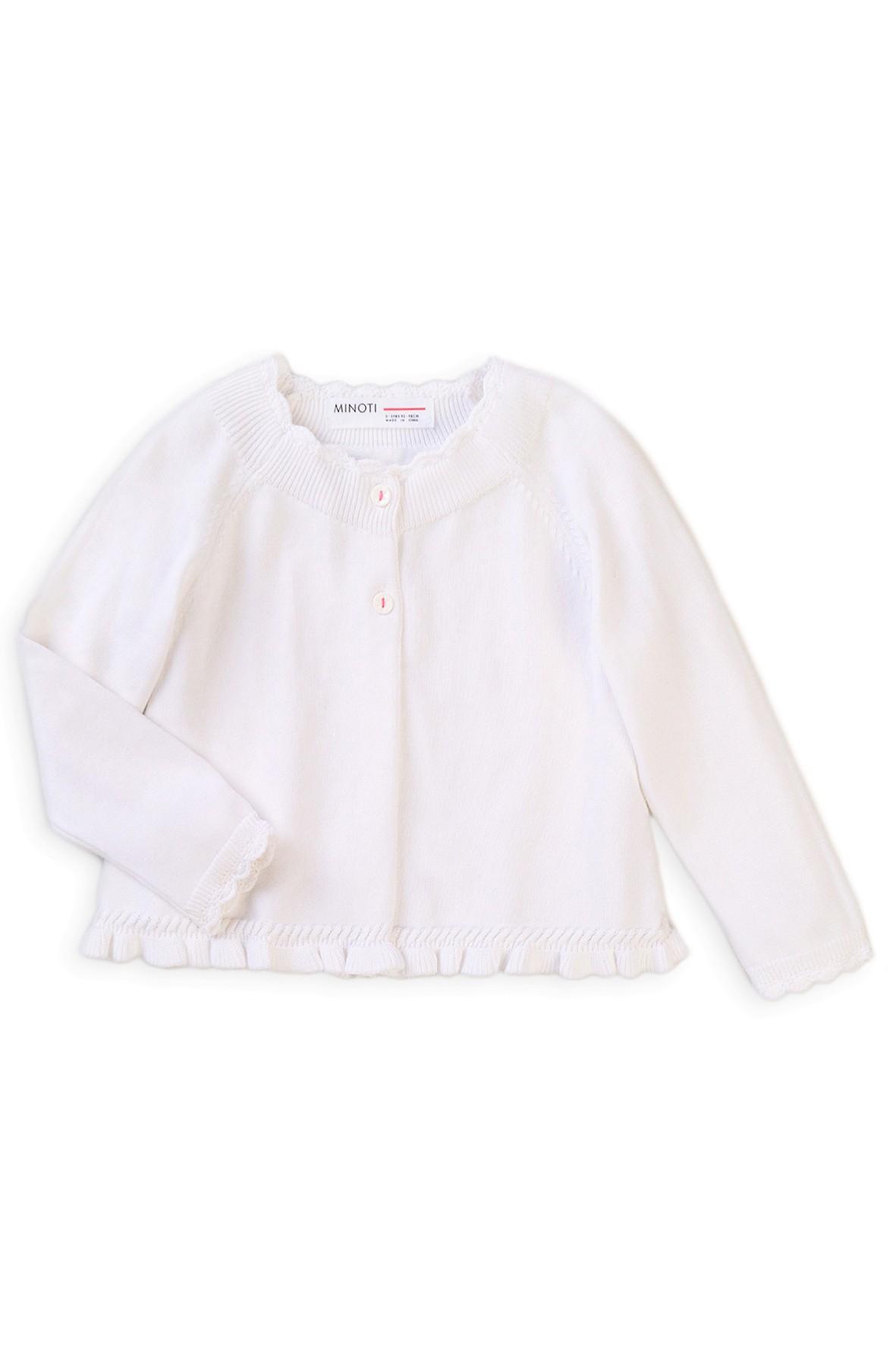 Sweter dziewczęcy z falbanką na dole- biały