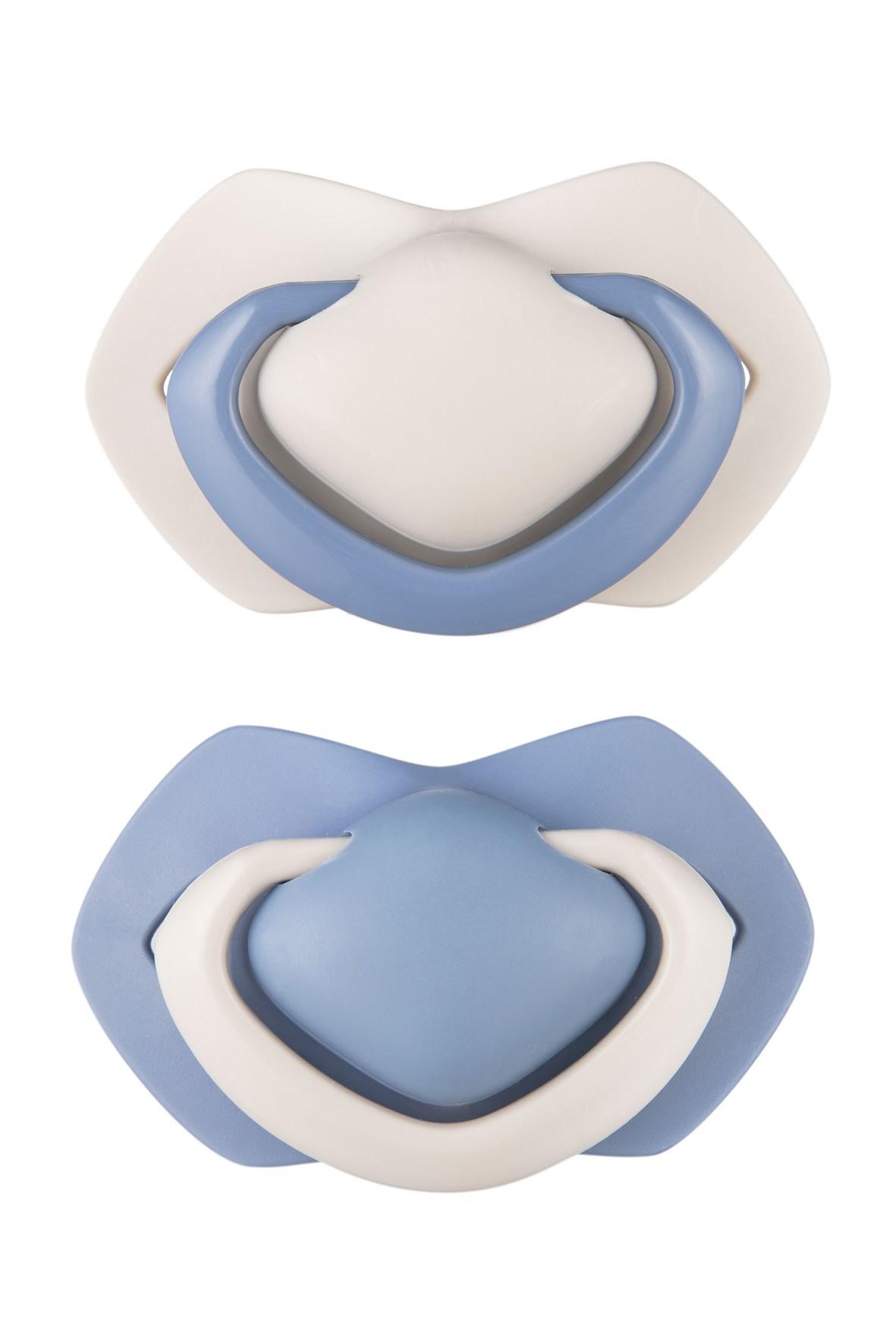 Zestaw smoczków uspok. 18msc+ symetryczny PURE - niebieski