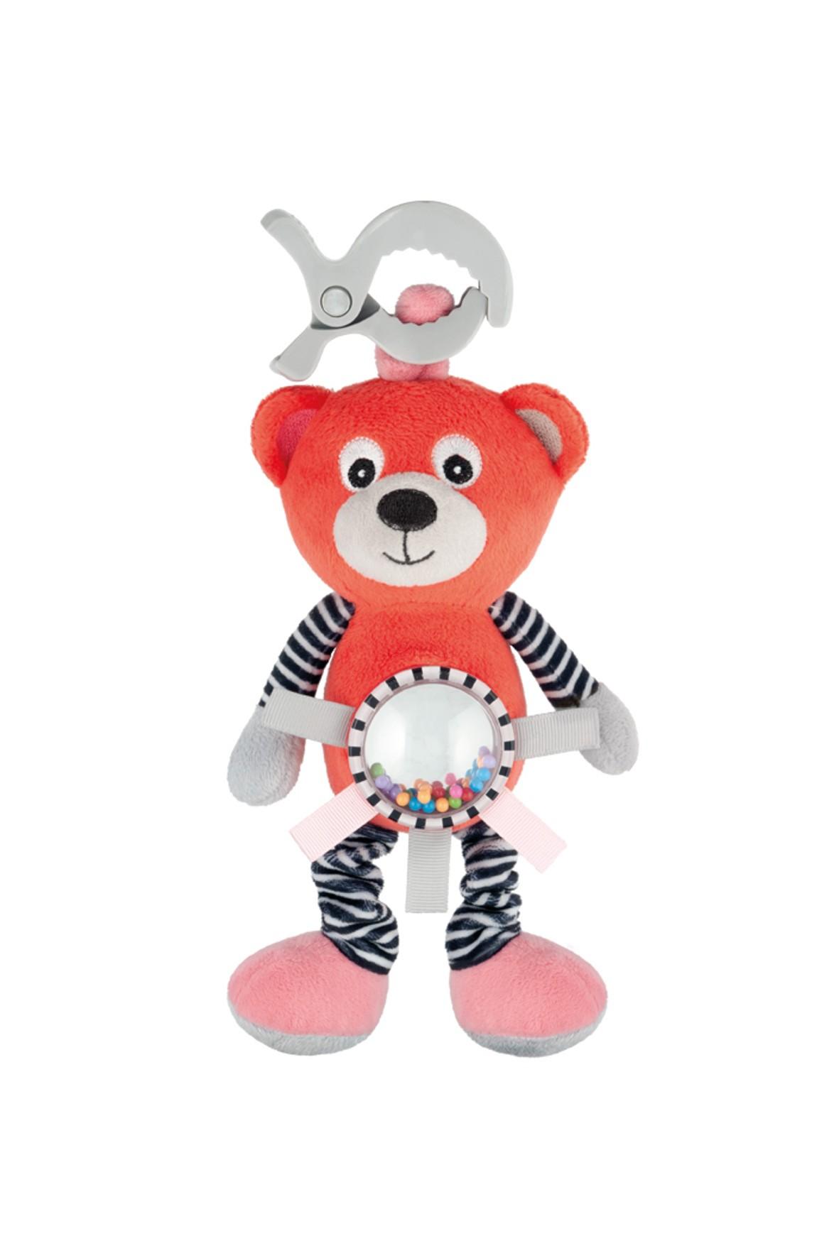 Pluszowa zabawka z wibracją i grzechotką - koral