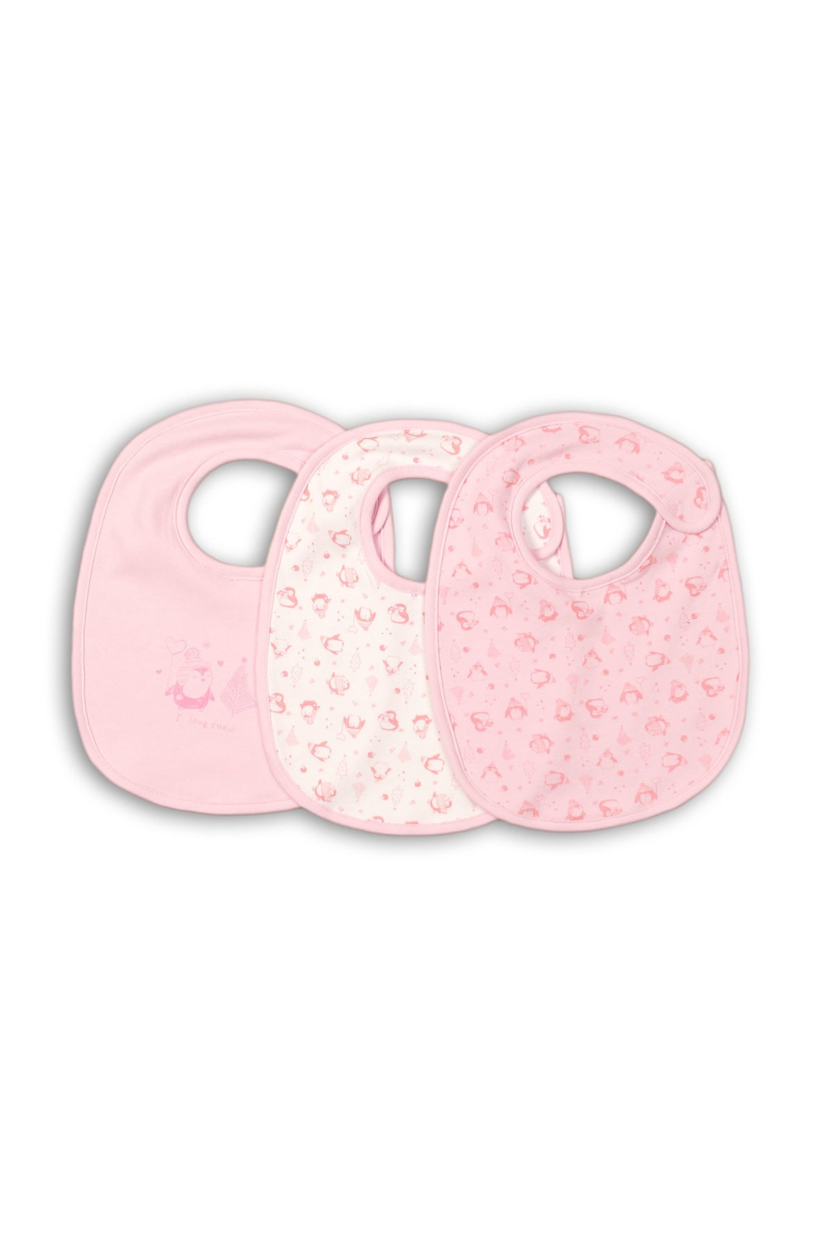 Śliniaki niemowlęce 100% bawełna- różowy 3 pak