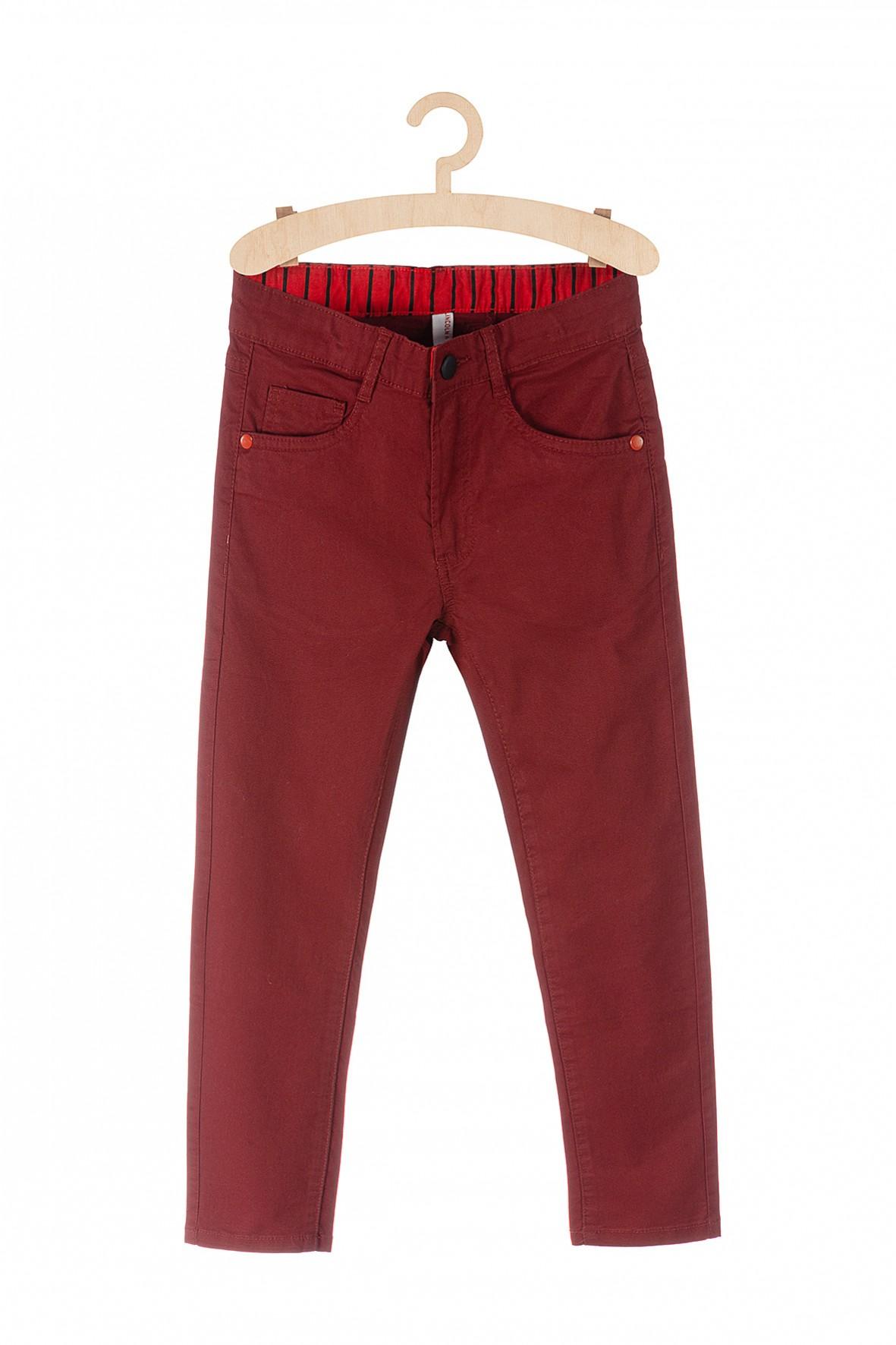 Spodnie chłopięce bordowe- klasyczny krój