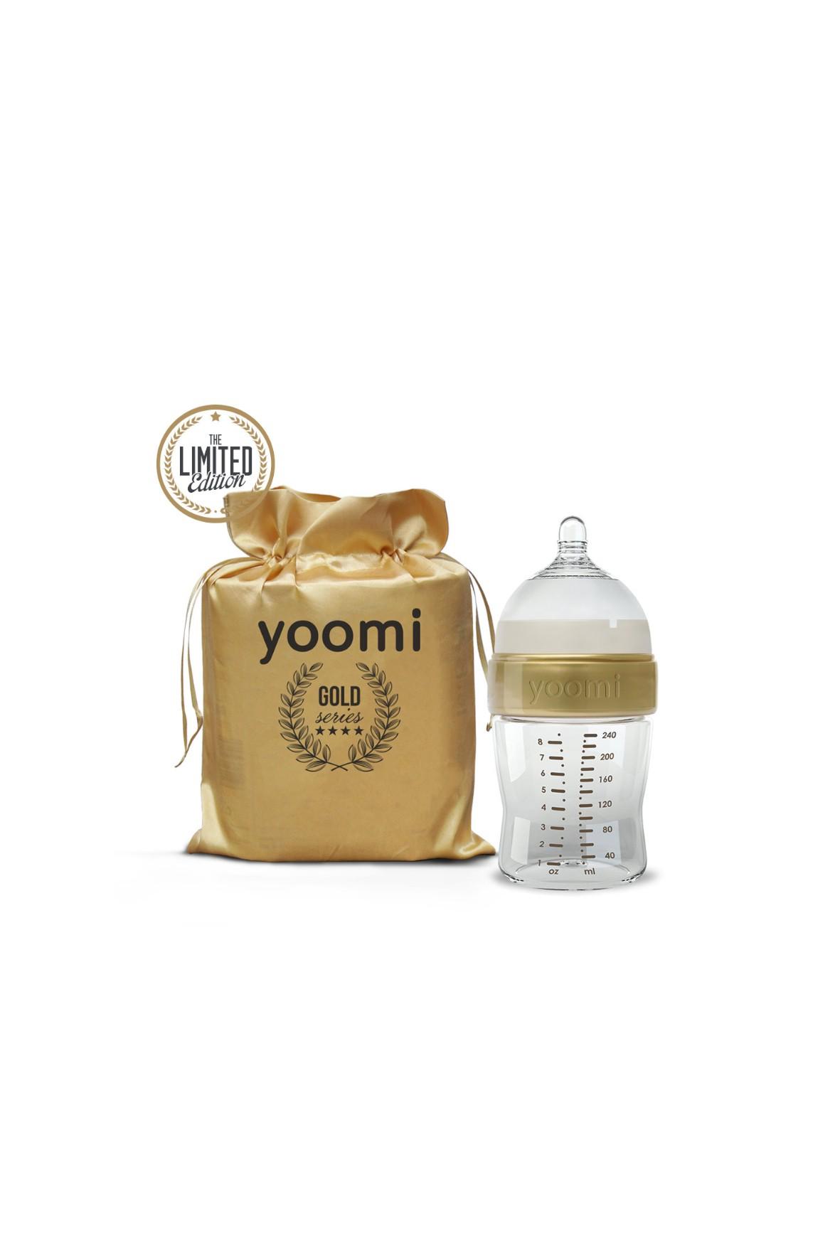 Butelka ze smoczkiem Gold&Black Yoomi 240 ml