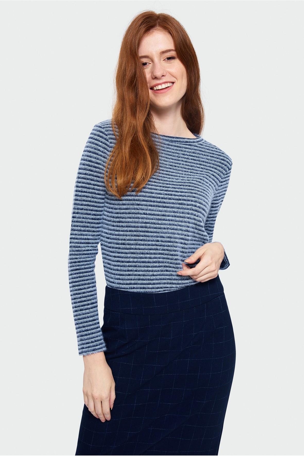Sweter damski w poprzeczne paski- niebieski