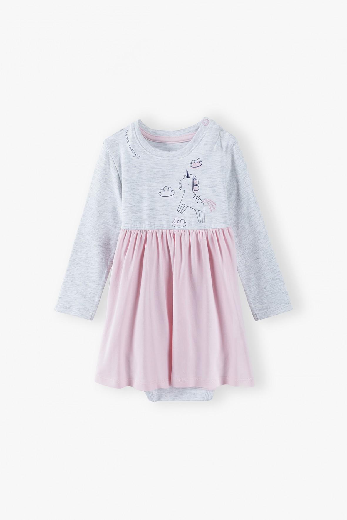Body niemowlęce z różową falbanką - szare