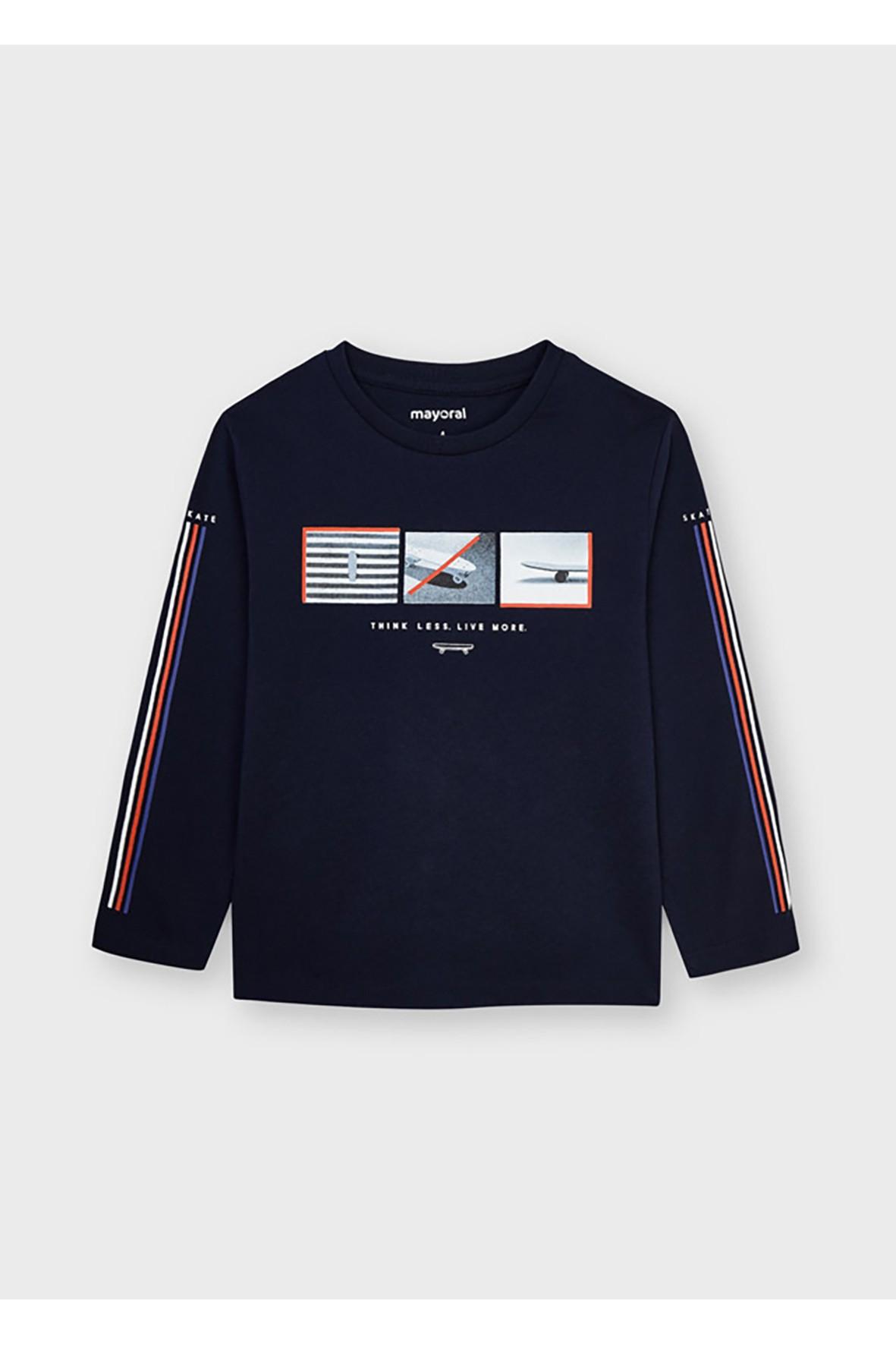 Bawełniana koszulka chłopięca z nadrukiem- długi rękaw - granatowa