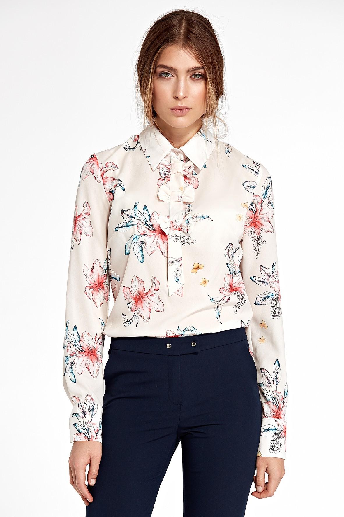 Koszula damska w kwiaty z kokardkami