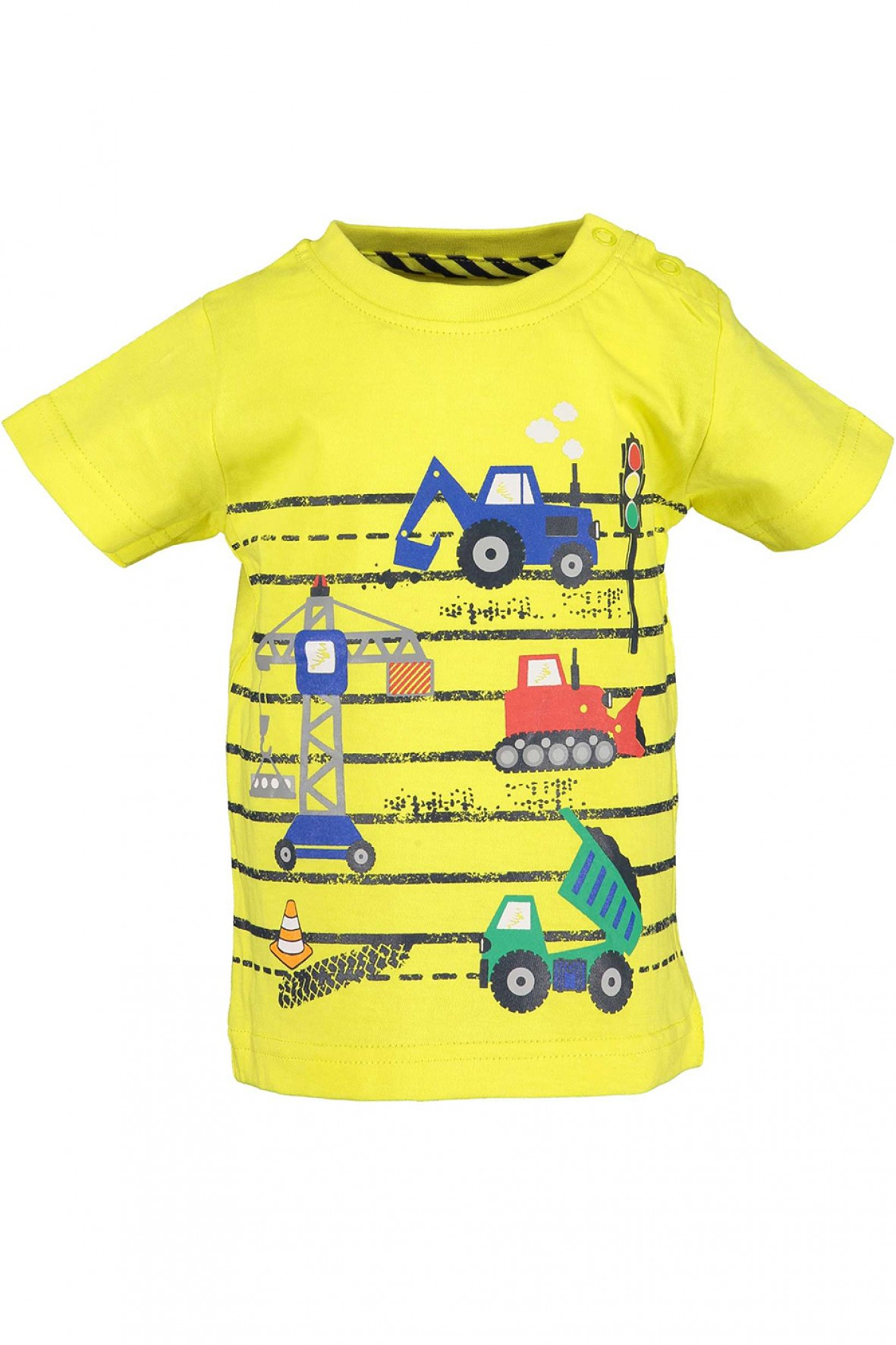 Koszulka chłopięca żółta z pojazdami budowlanymi