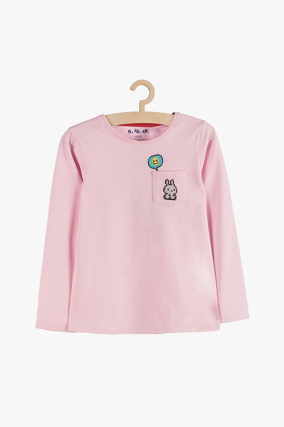 Różowa bawełniana bluzka z kieszonką dla dziewczynki