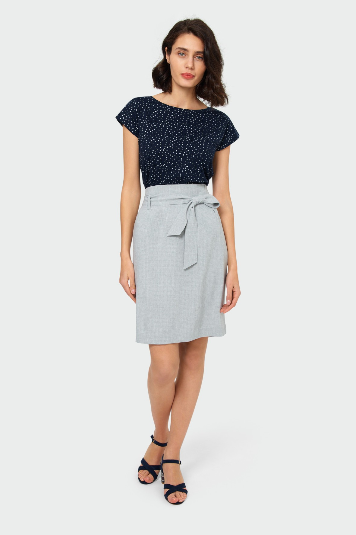 Granatowy top z nadrukiem- ubrania dla kobiet