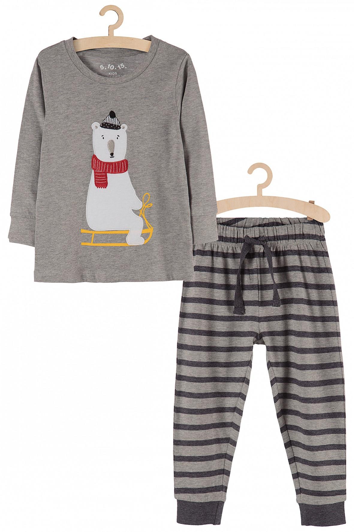 Piżama chłopięca dzianinowa- miś na sankach