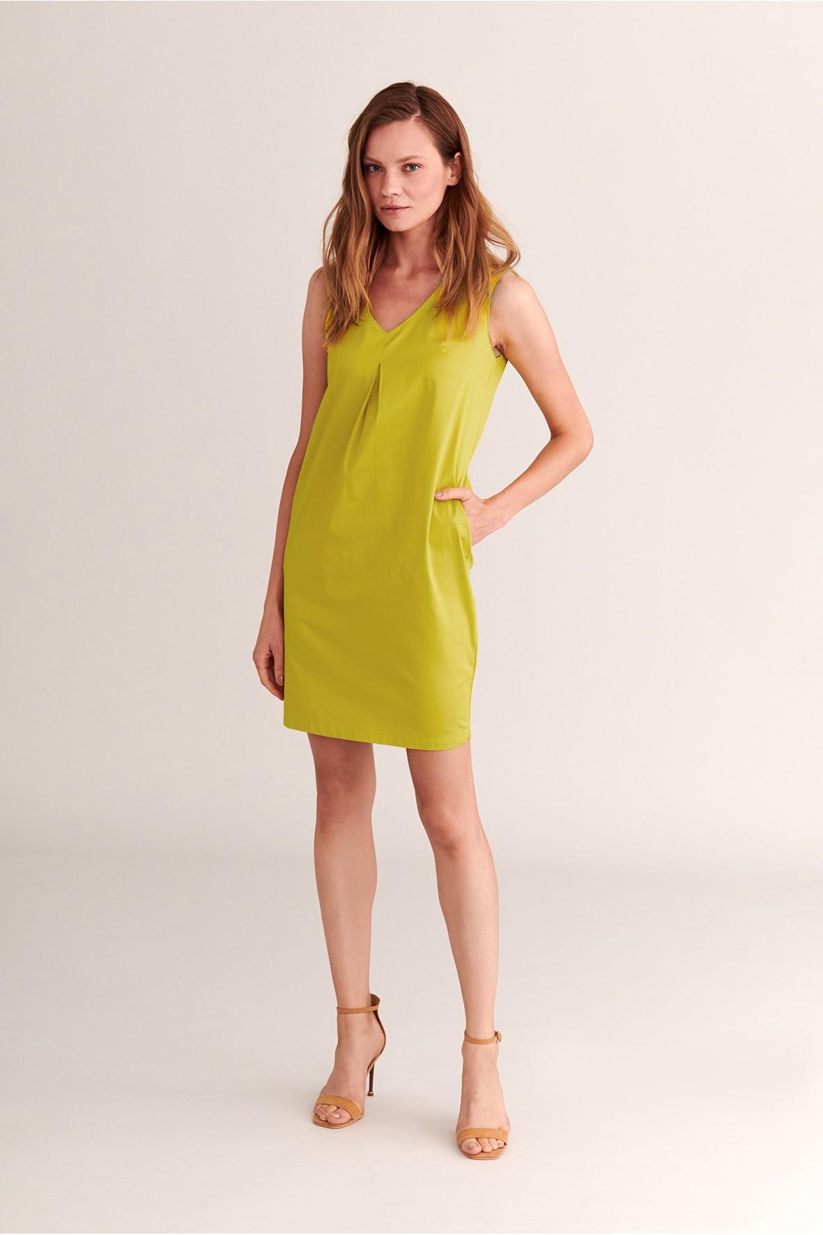 Sukienka mini z kontrafałdą Tatuum - żółta