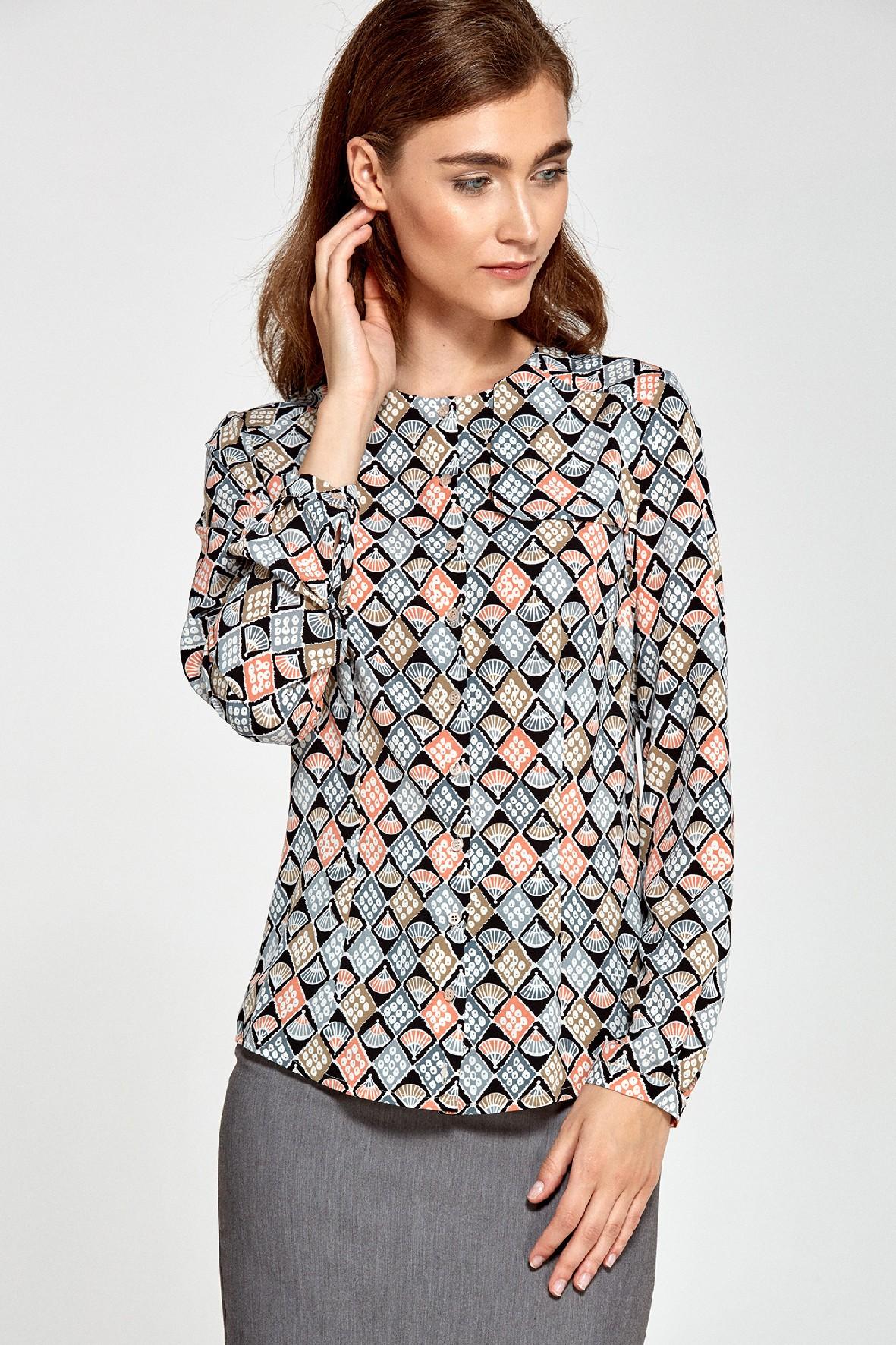 Bluzka damska z ozdobną klapą po lewej stronie we wzór