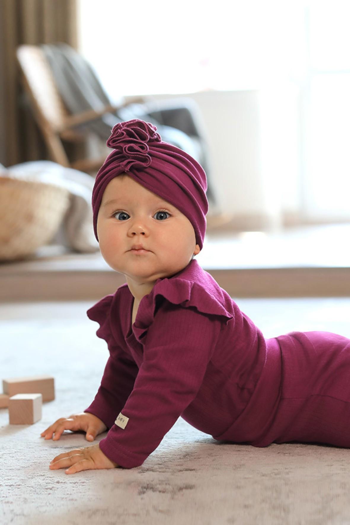 Bawełniany turban czapka - bordowy