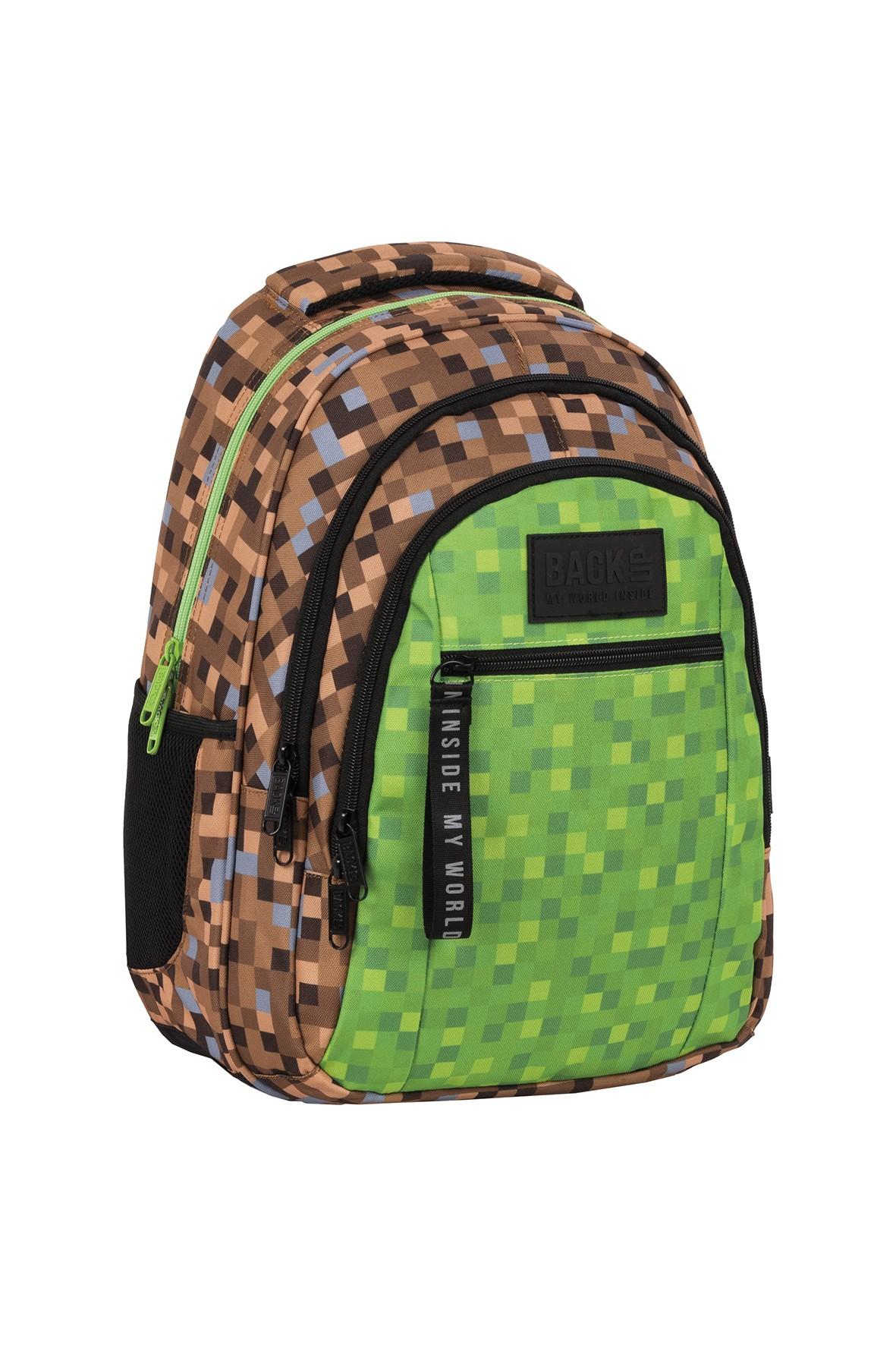 Plecak BackUp chłopięcy zielono-brązowy game
