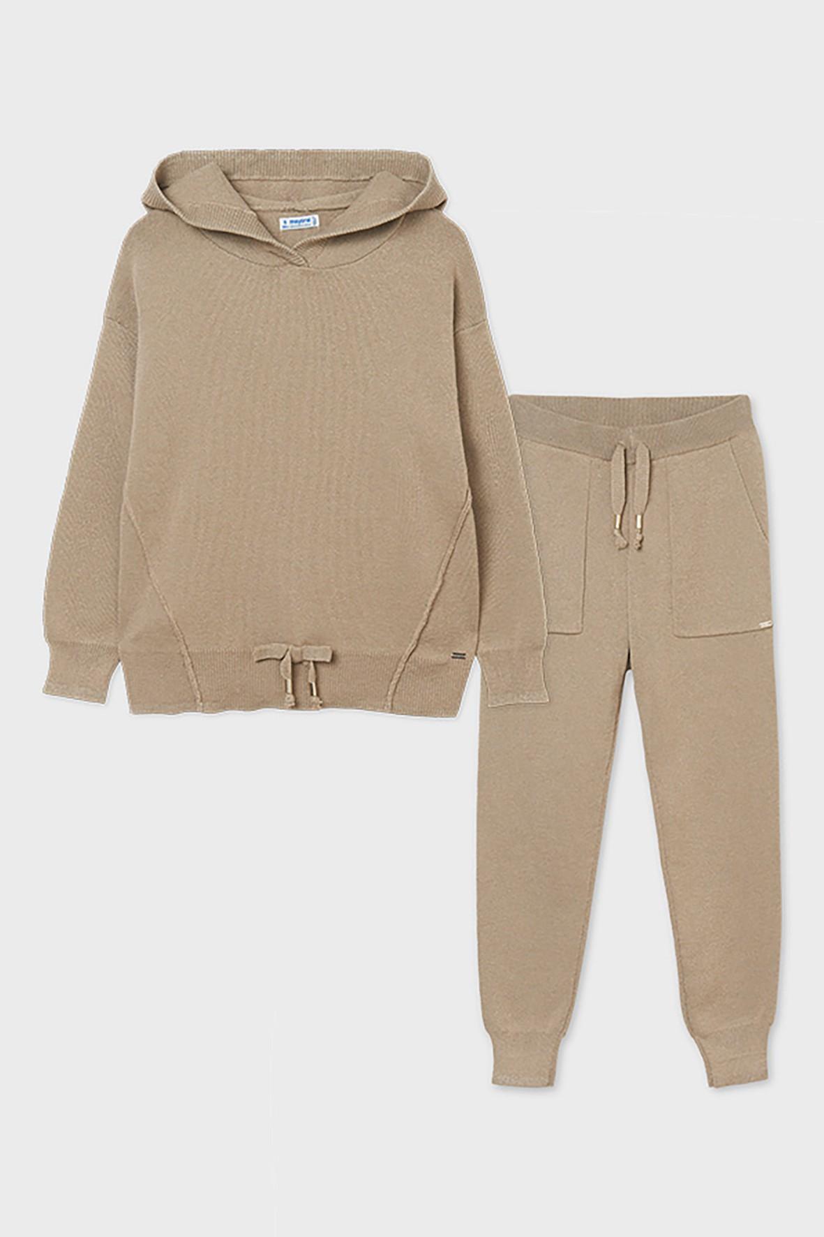 Komplet chłopięcy  - bluza z kapturem i spodnie dresowe - beżowy