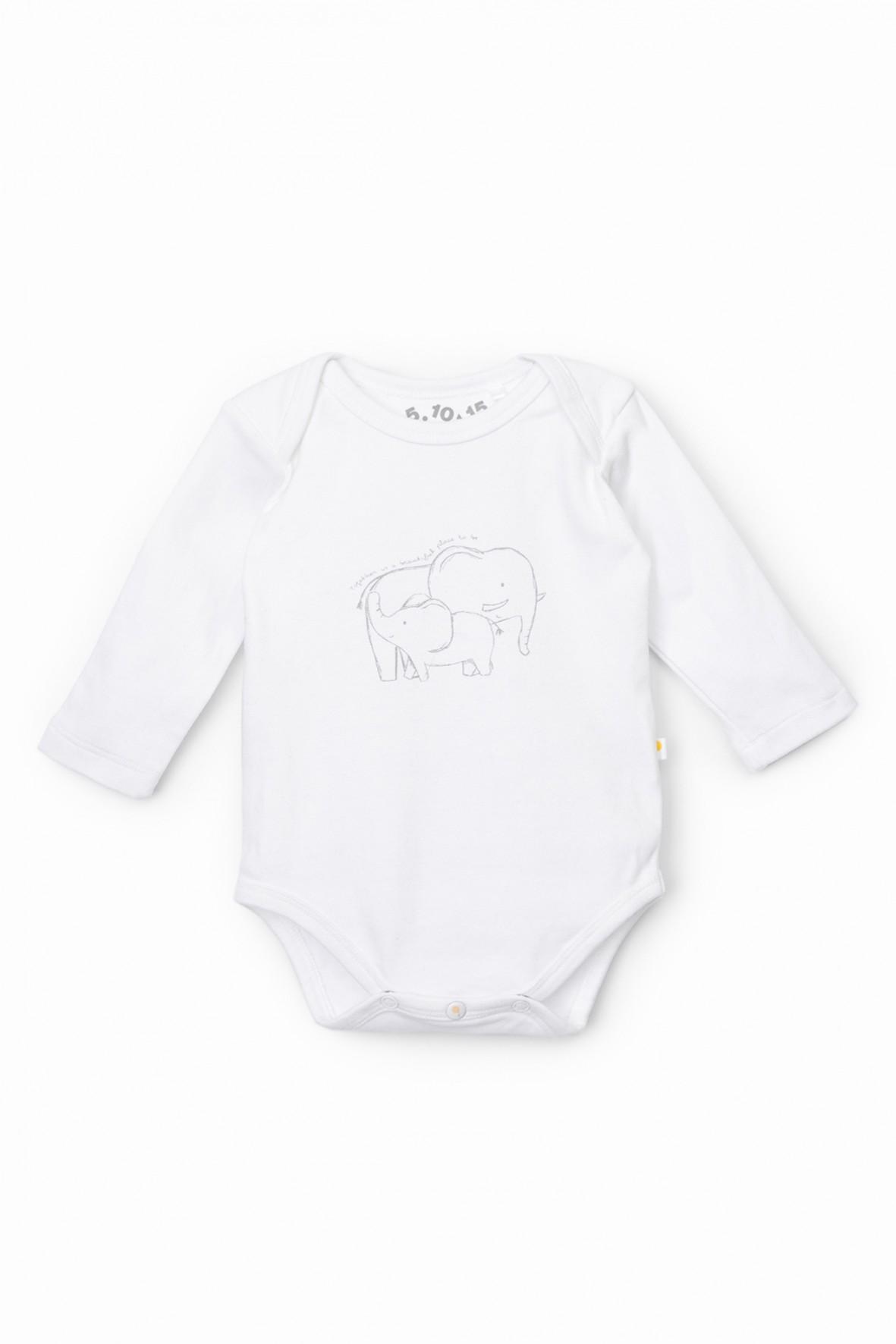 Body niemowlęce z długim rękawem ze słonikiem