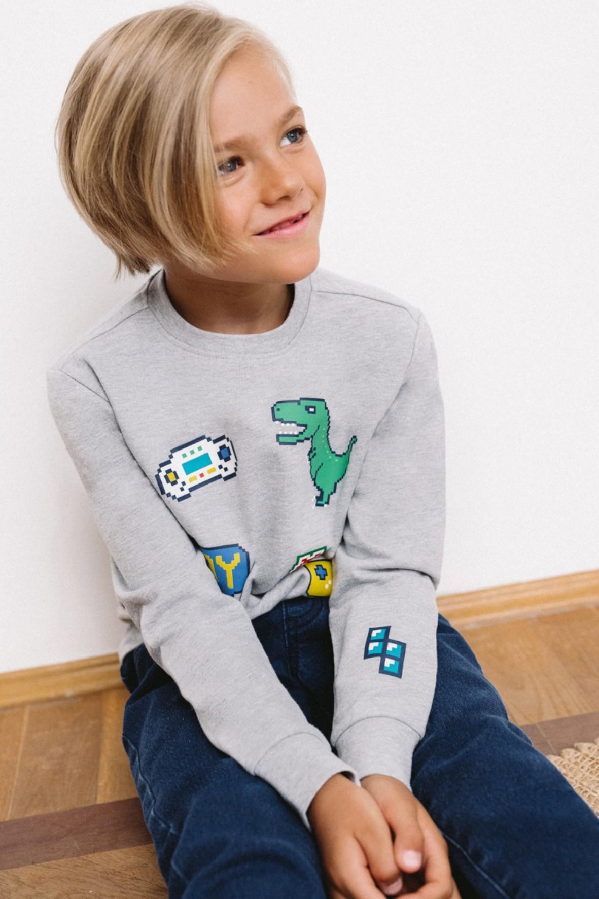Bluza dresowa chłopięca szara z motywem gry