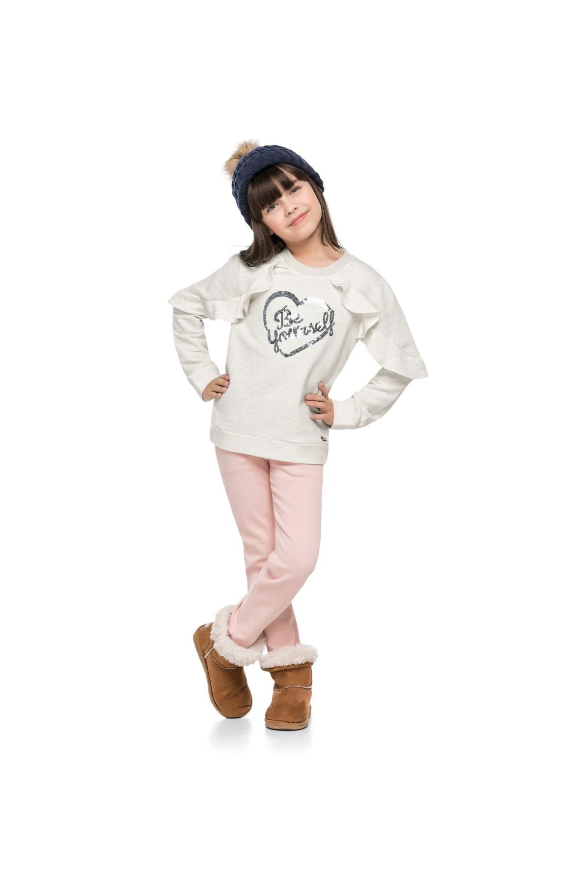 Bluza cienka dziewczęca z ozdobnymi rękawami