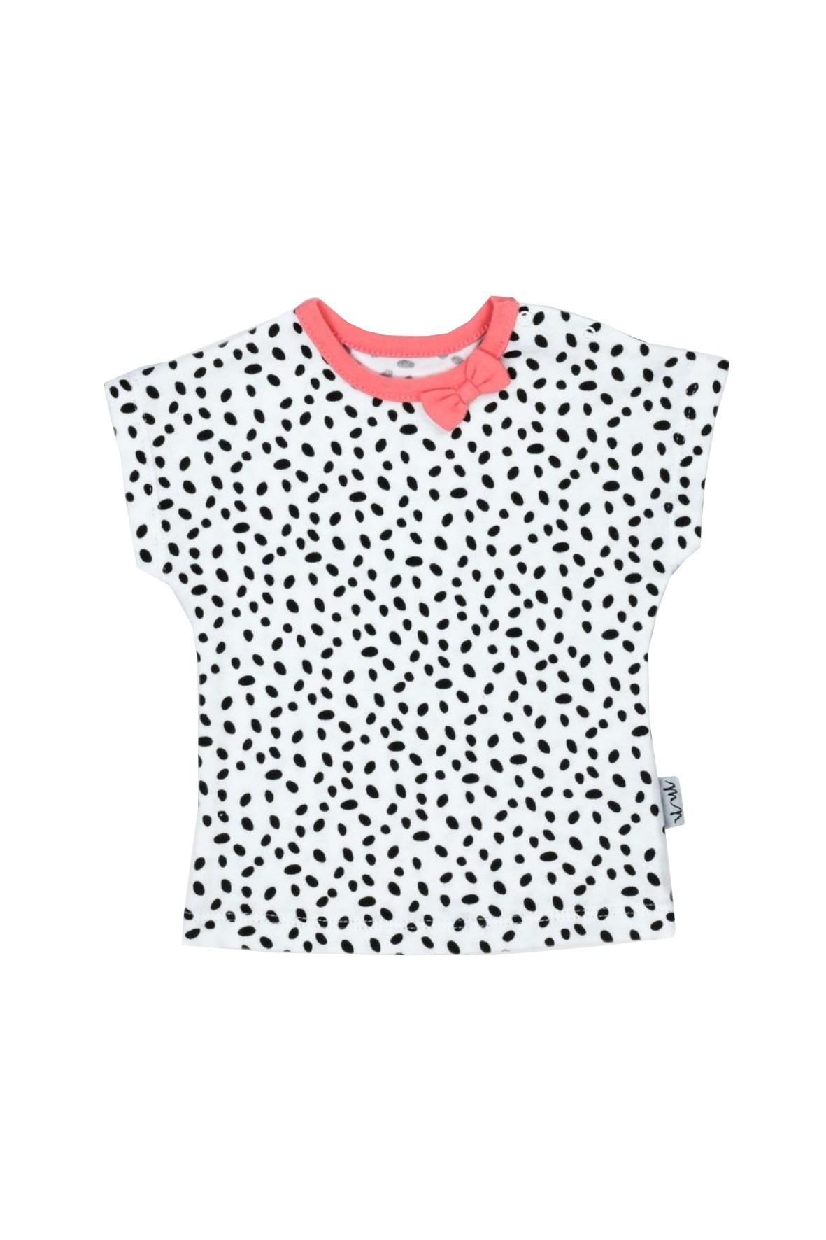 Biała koszulka dziewczęca w czarne kropki z kokardką