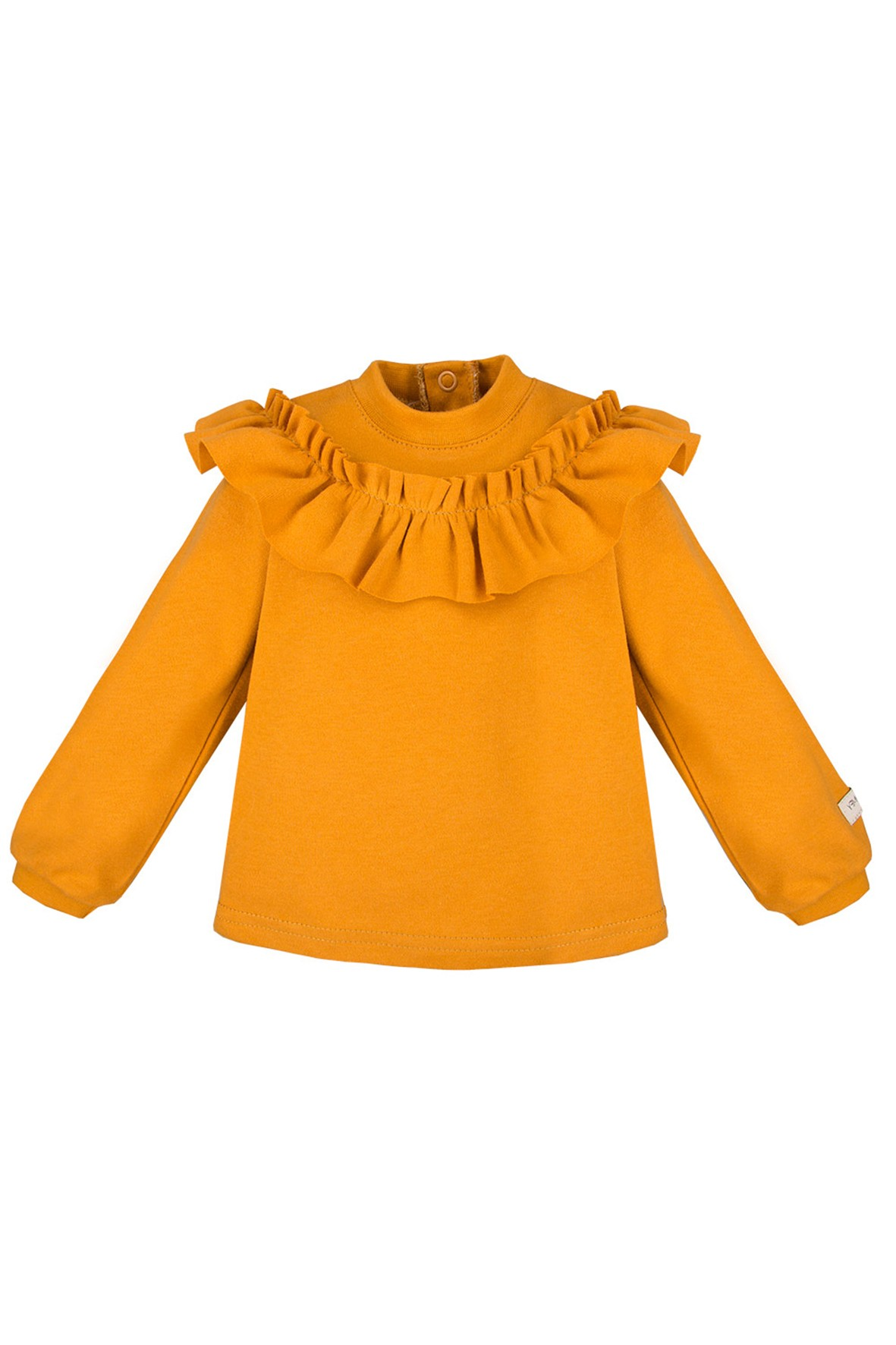 Bawełniana bluza z falbanką - miodowa