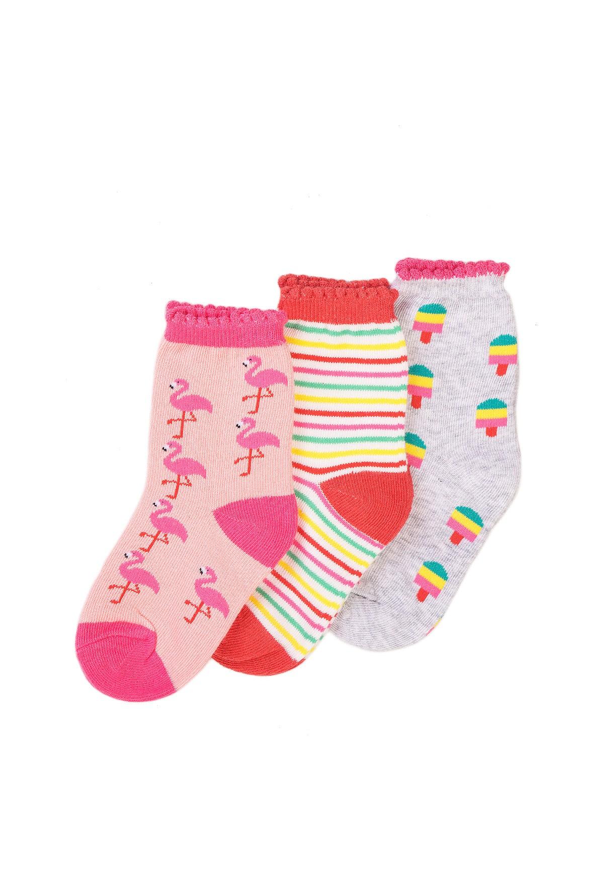 Skarpetki dziewczęce  wielokolorowe Flamingi - 3 pak