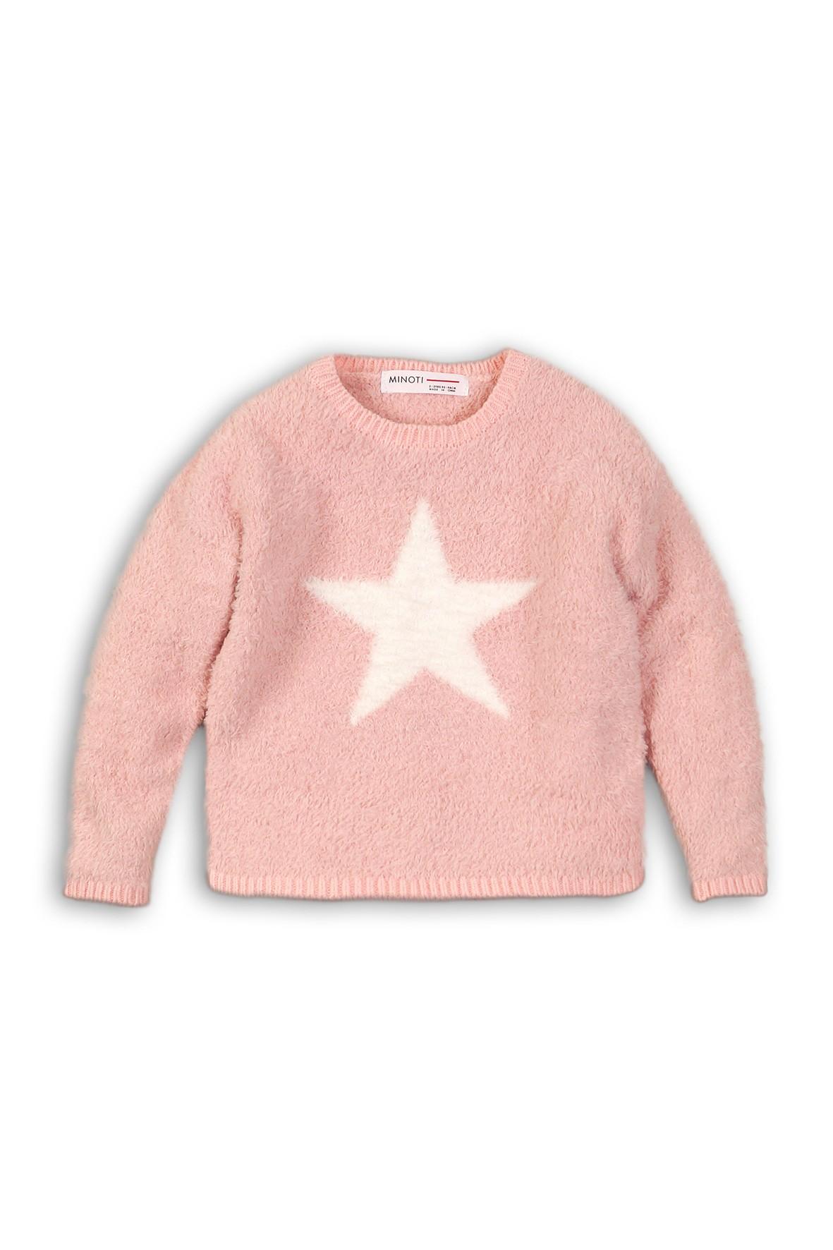 Różowy sweter dziewczęcy z gwiazdką rozm 92/98