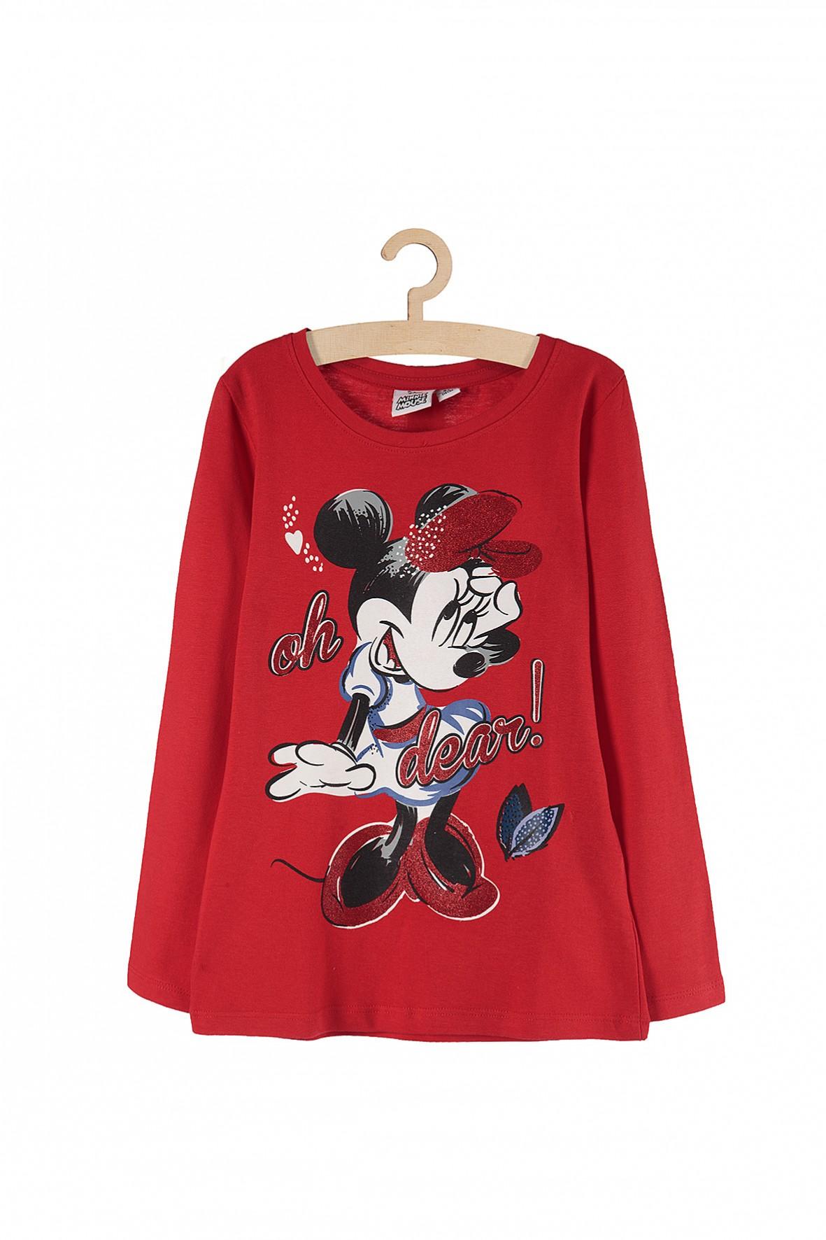 Bluzka dziewczęca Myszka Minnie - czerwona z brokatowymi nadrukami