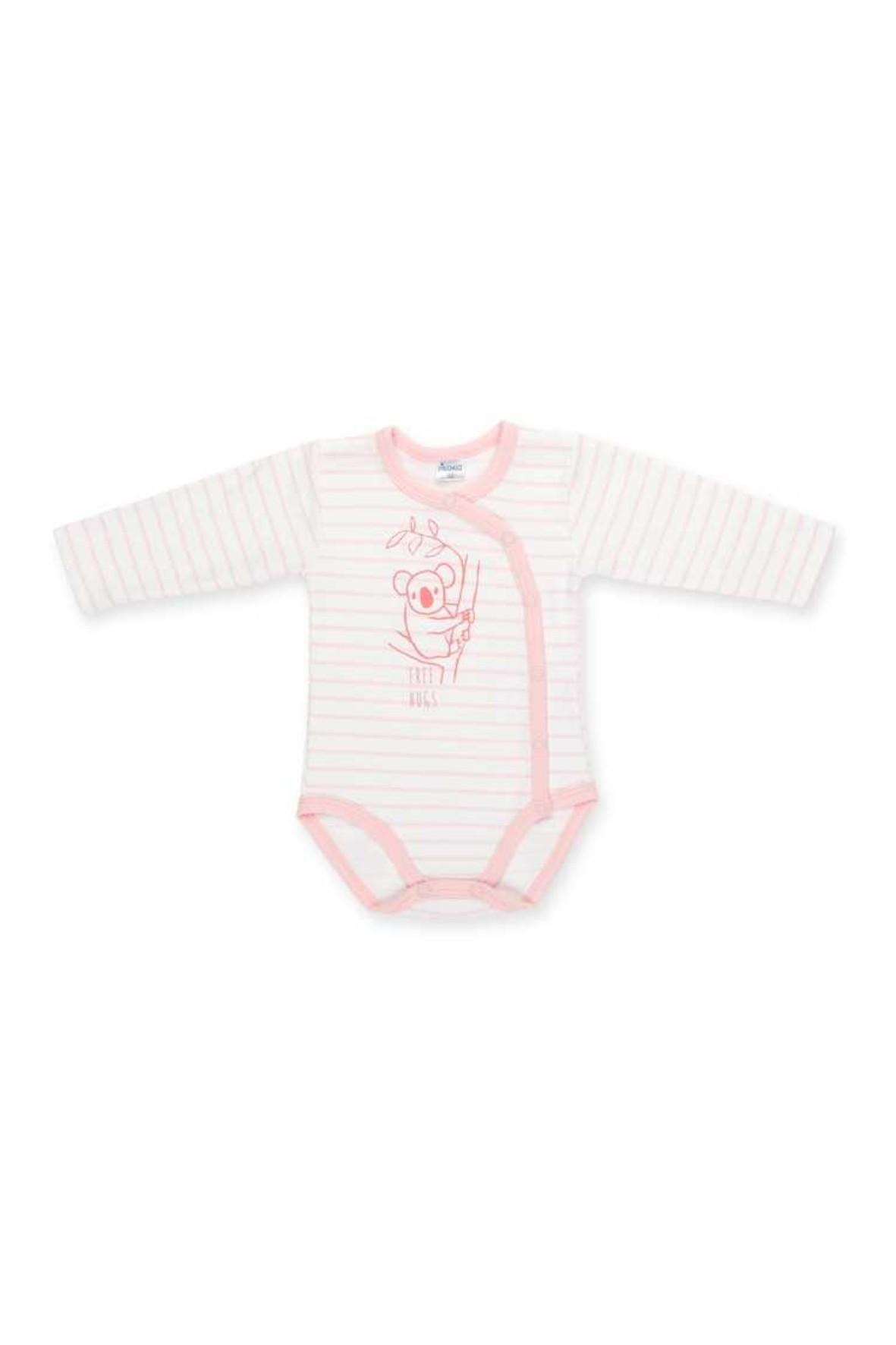 Body rozpinane dla noworodka długi rękaw Happy Kids różowe