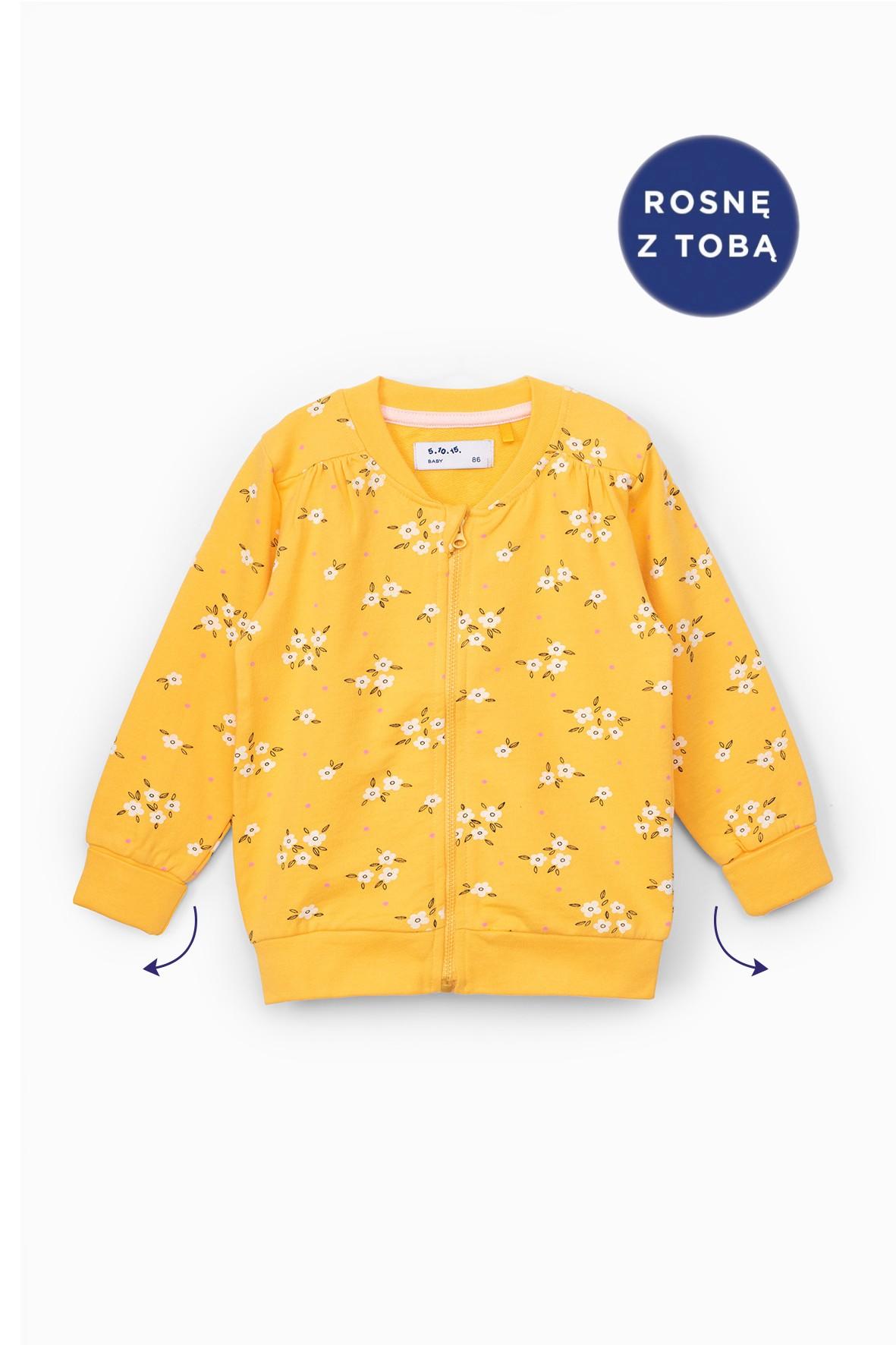 Bluza dresowa dziewczęca żółta w kwiatki