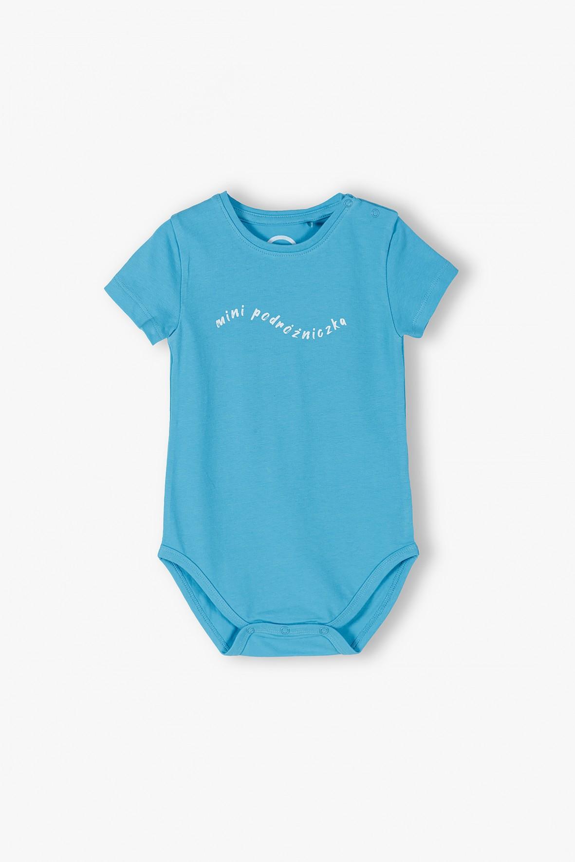Niebieskie body niemowlęce z napisem Mini Podróżniczka