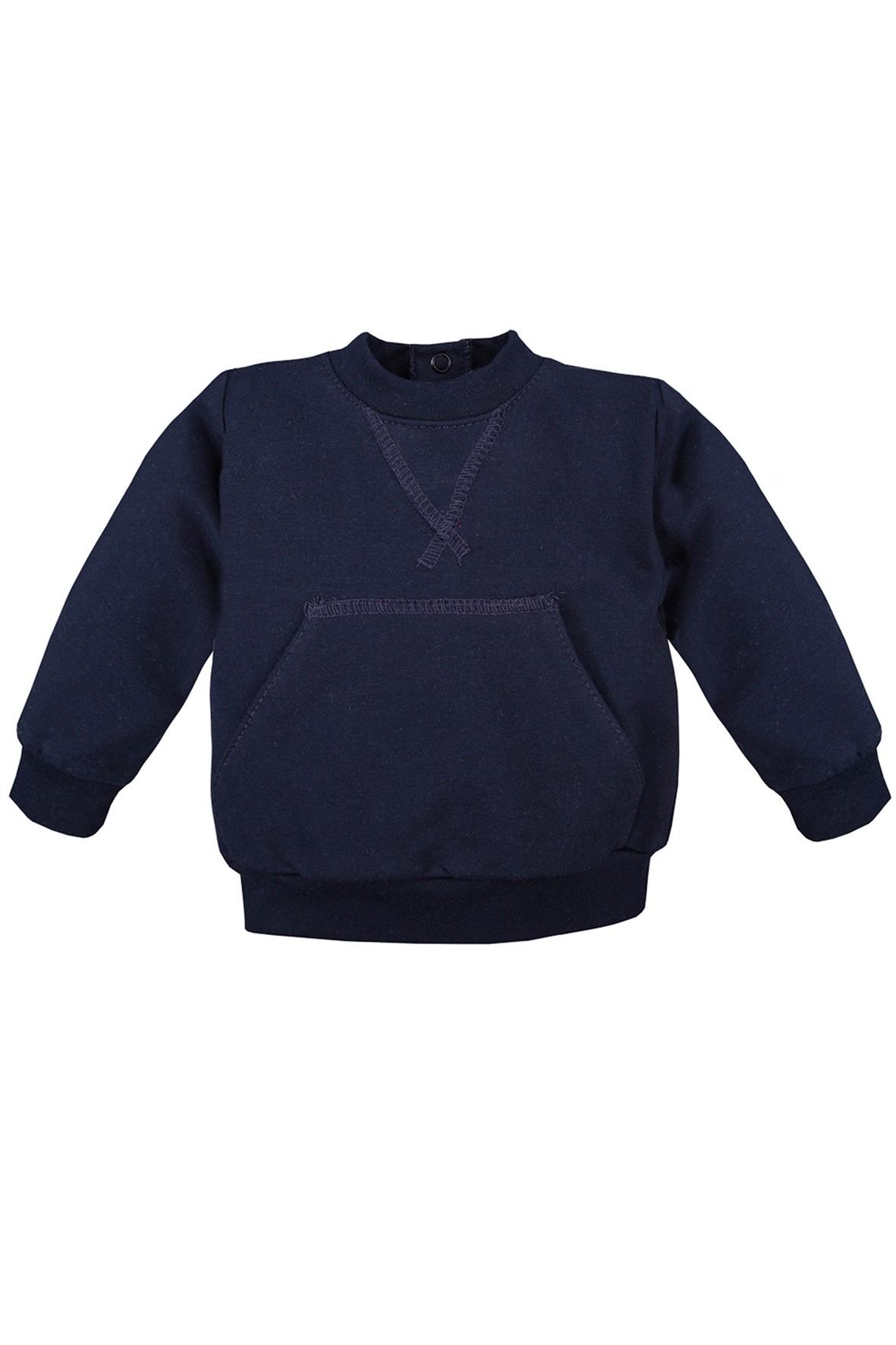 Bawełniana bluza kangurka -  granatowa