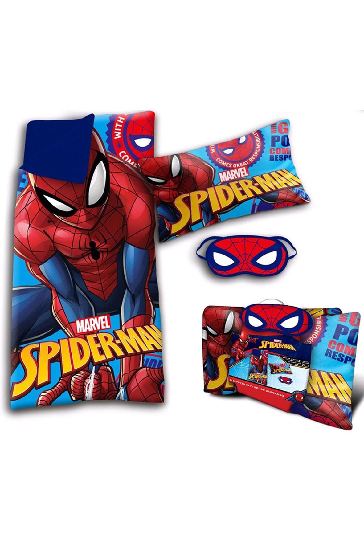 Spiderman Zestaw śpiwór + poduszka