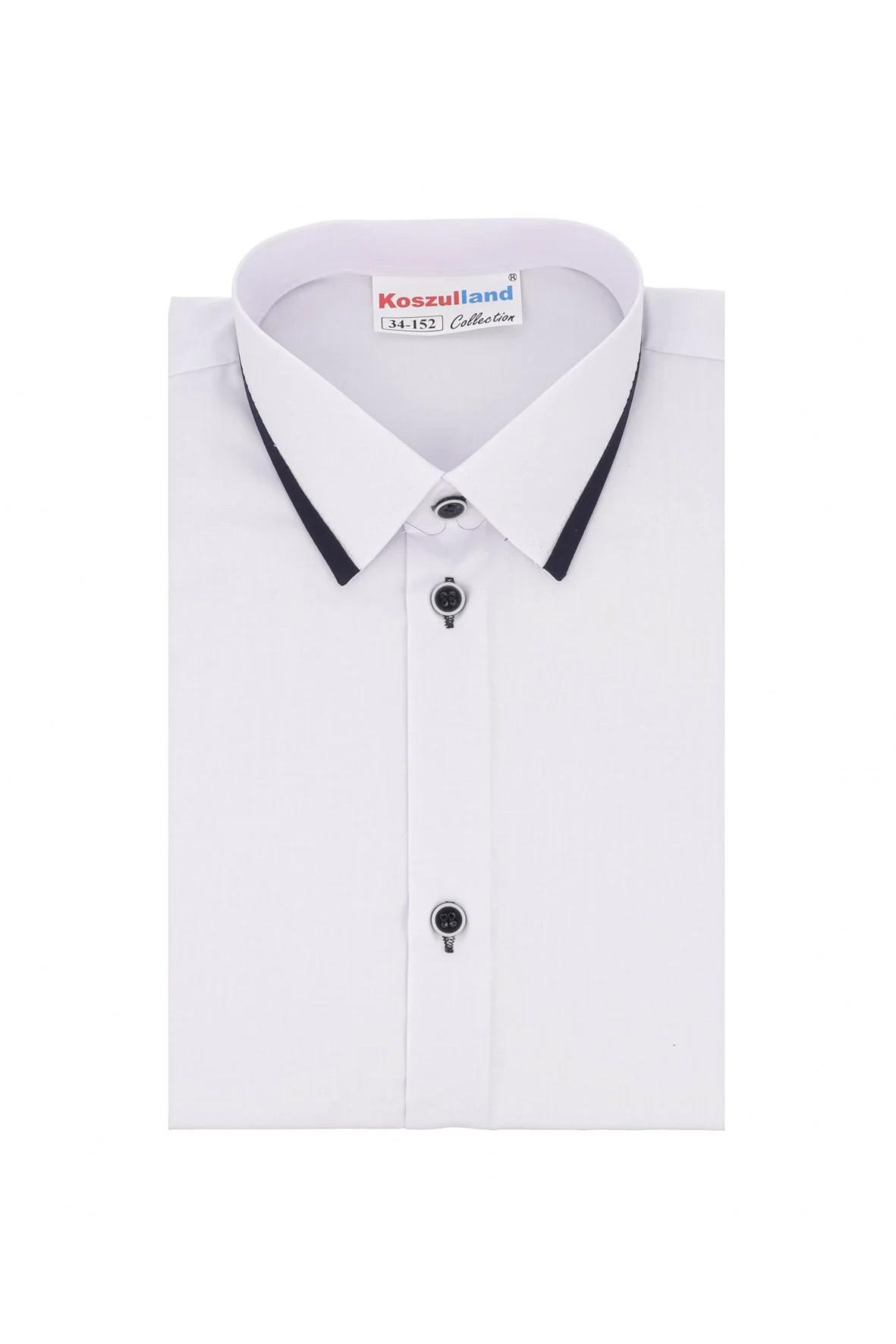 Koszula biała z granatową lamówką - długi rękaw