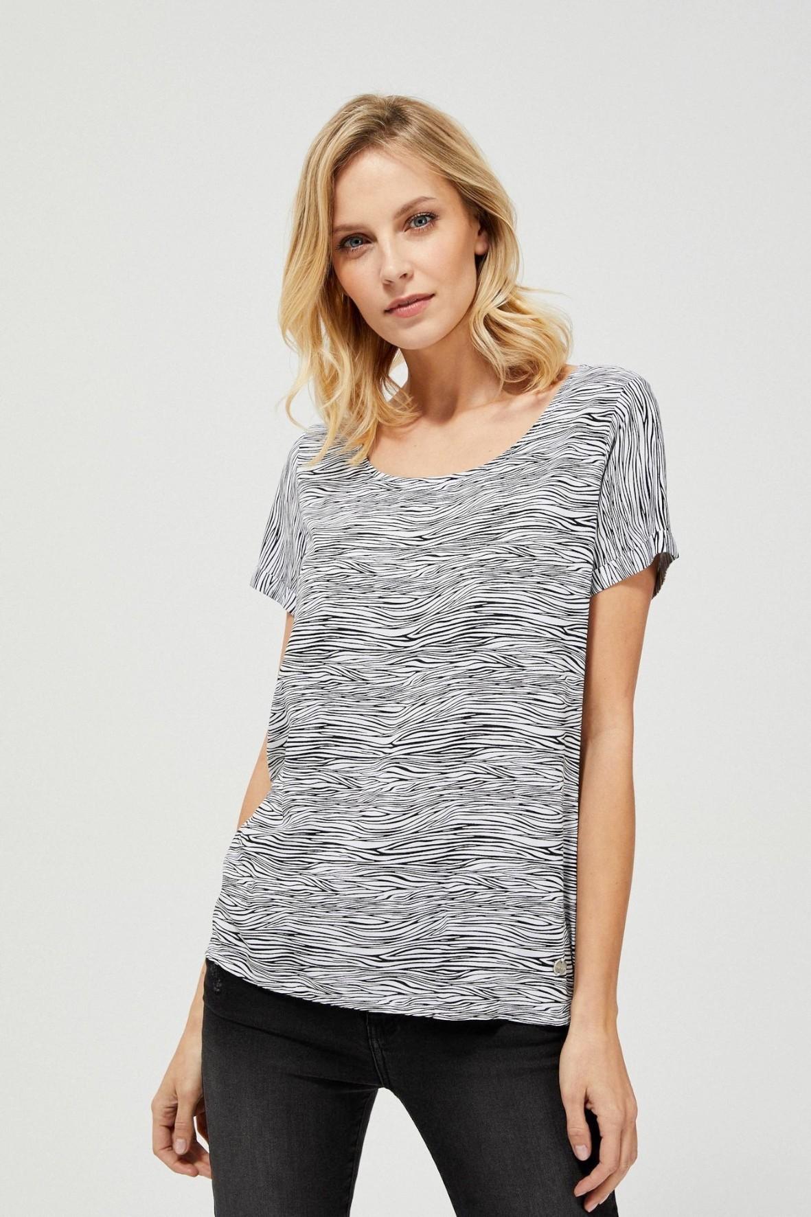 Bluzka damska koszulowa na krótki rękaw wzór zebry biało-czarna