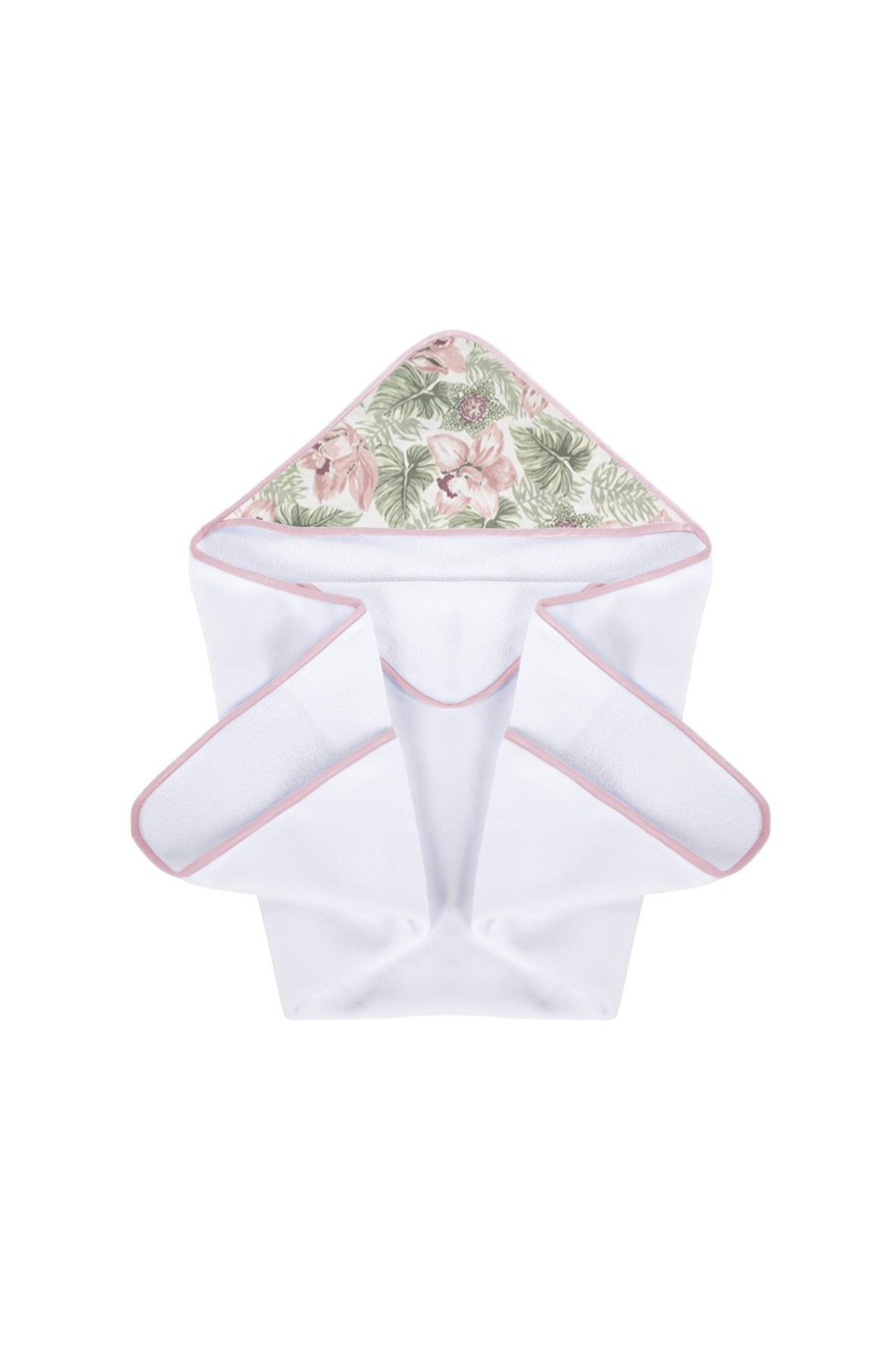 Okrycie kąpielowe Pink flowers w kolorze białym -  100x100 cm