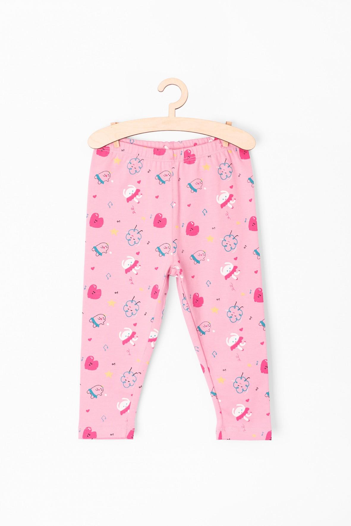 Leginsy dla niemowlaka- różowe w kolorowe wzory