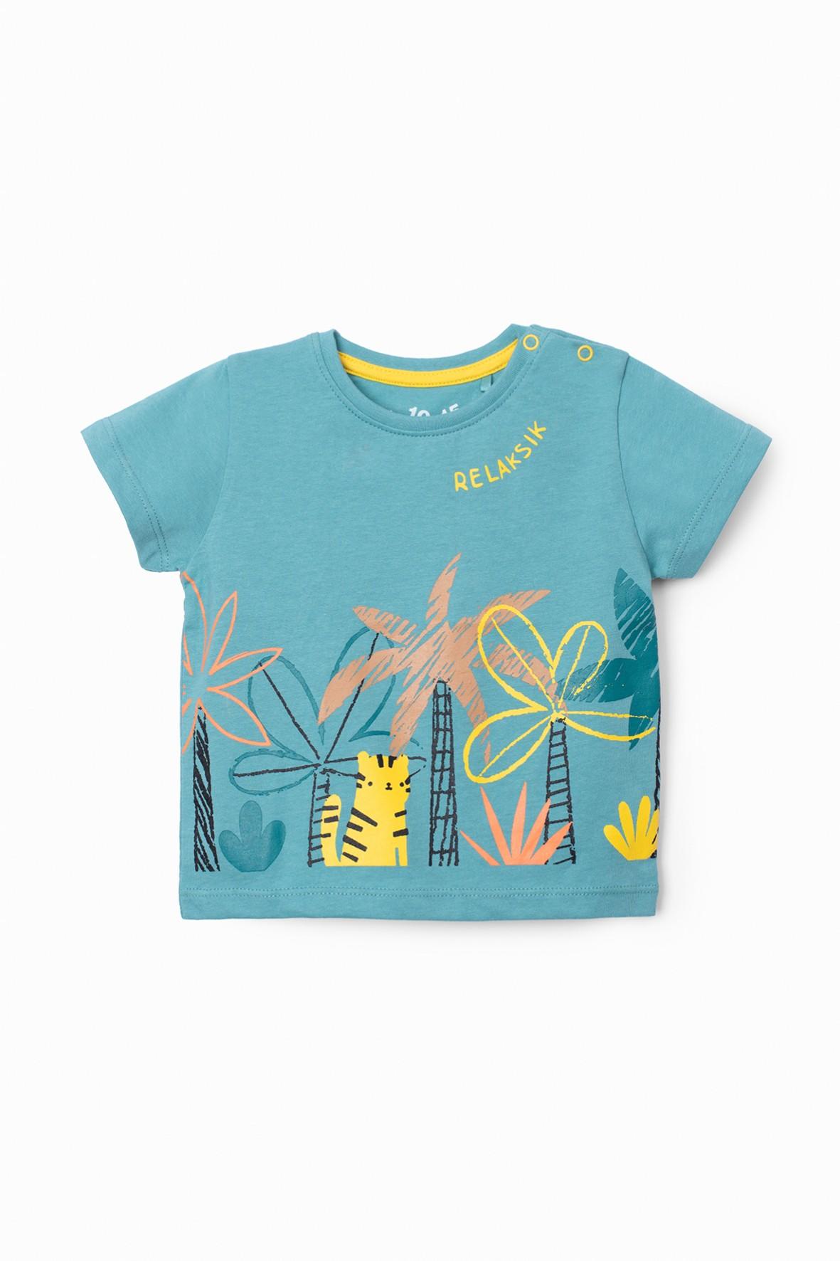 T-shirt niemowlęcy z palmami w kolorze morskim - Relaksik