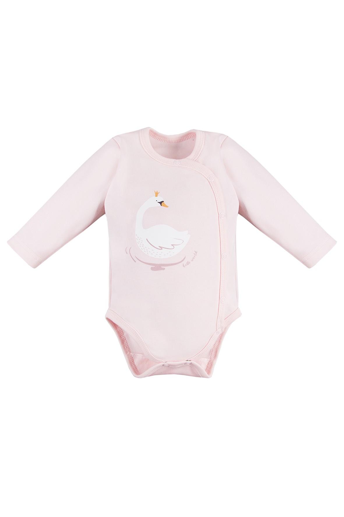 Body niemowlęce rozpinane - kopertowe różowe