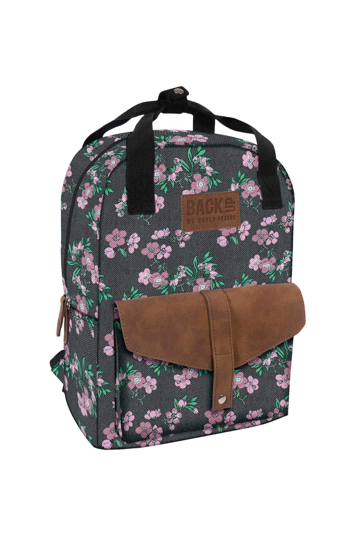 Plecak dziewczęcy szary we wzory