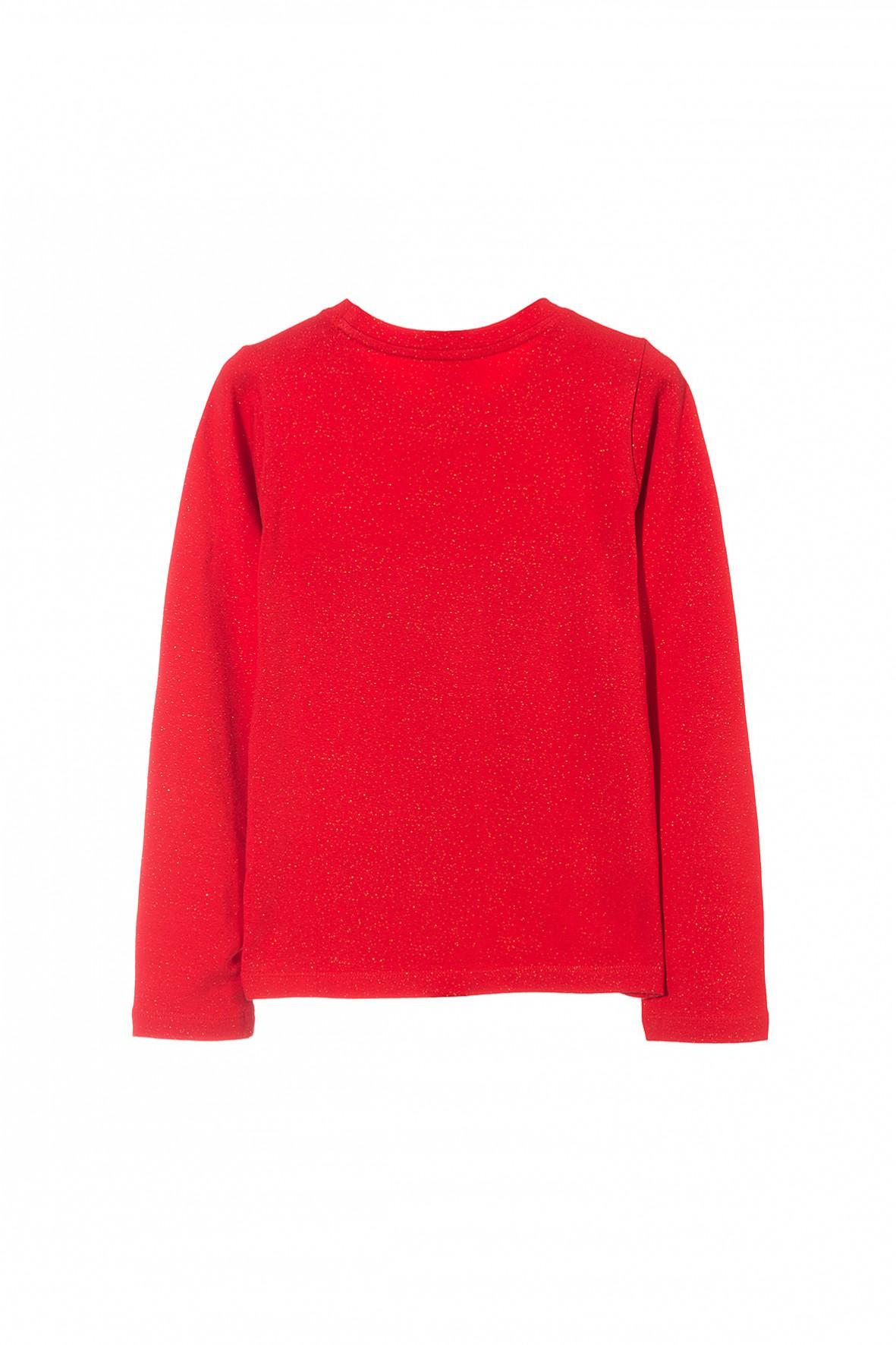Czerwona Bluzka Dla Dziewczynki Z Cekinową Aplikacją W Postaci Kokardki