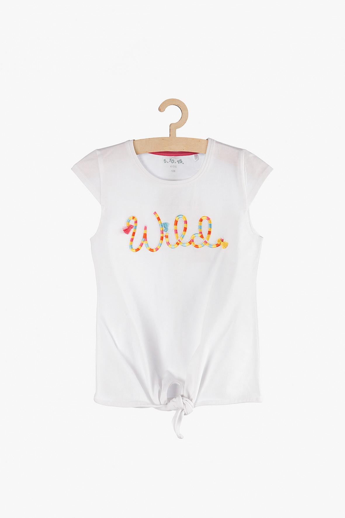 """T-shirt dziewczęcy biały """"Wild""""- z ozdobnym wiązaniem"""