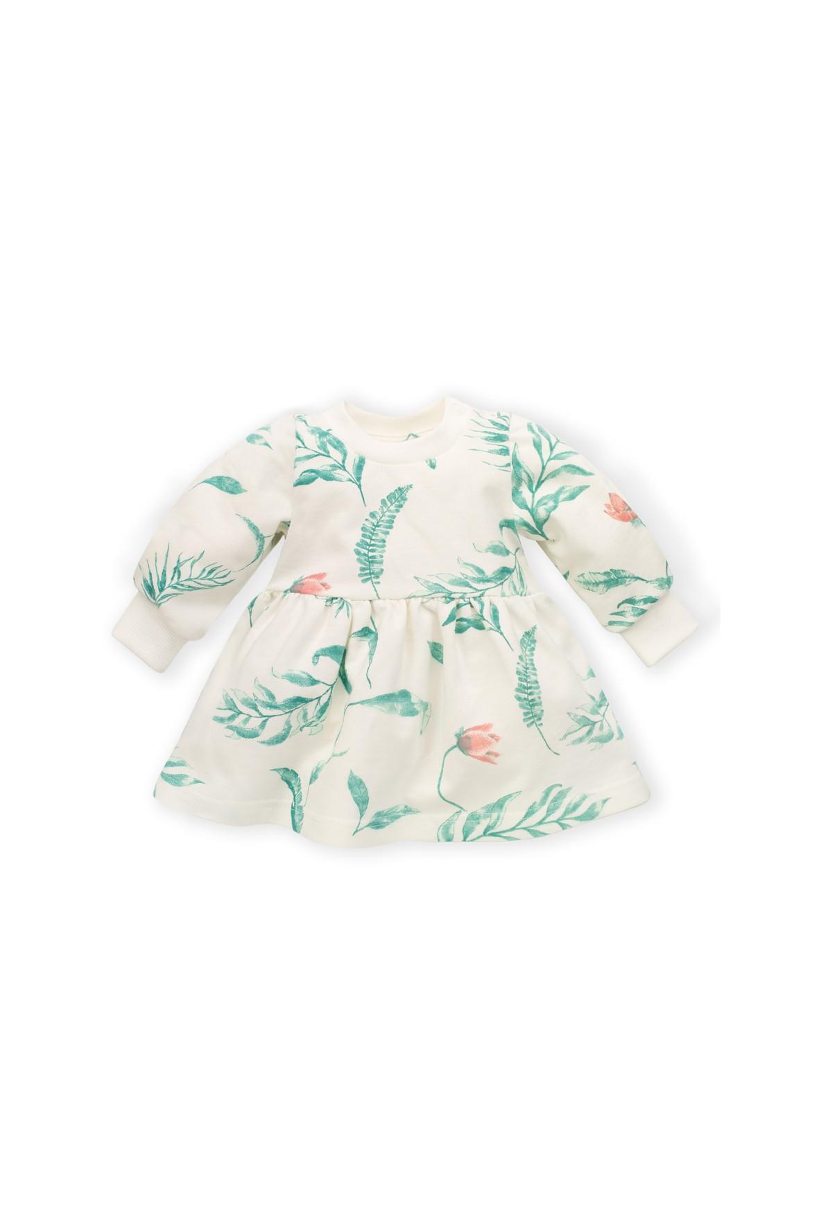 Sukienka bawełniana dla niemowlaka-ecru w kwiaty