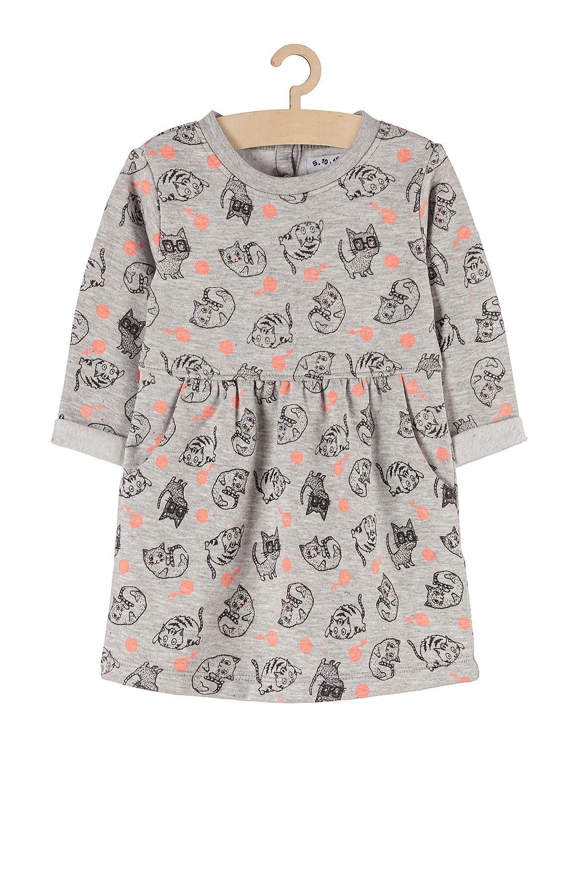 Sukienka dziewczęca dzianinowa szara w kotki